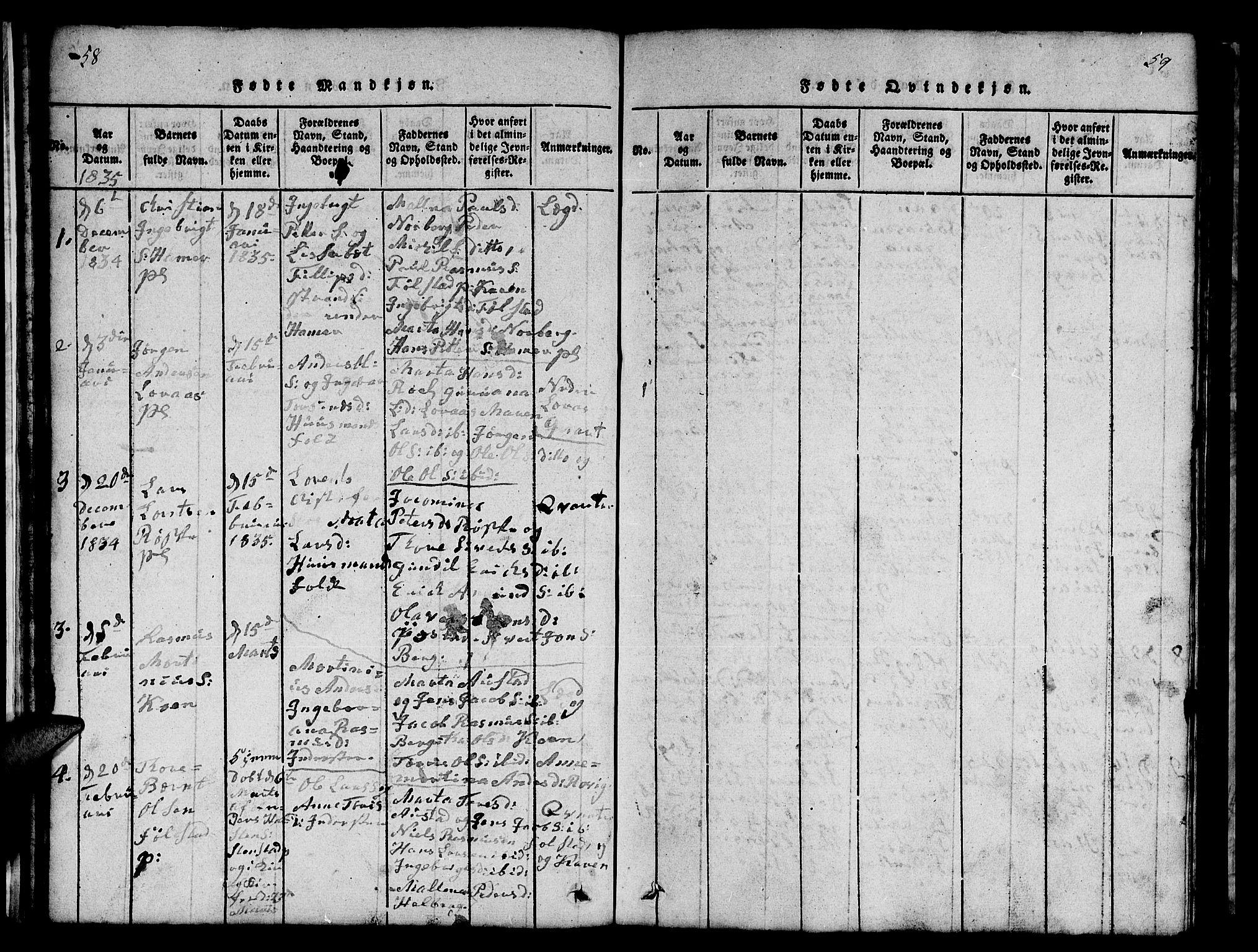SAT, Ministerialprotokoller, klokkerbøker og fødselsregistre - Nord-Trøndelag, 731/L0310: Klokkerbok nr. 731C01, 1816-1874, s. 58-59