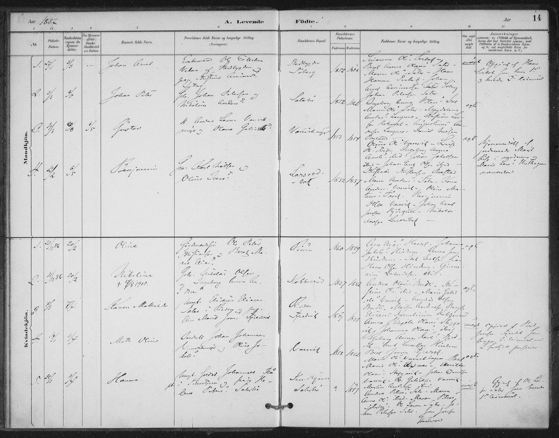 SAT, Ministerialprotokoller, klokkerbøker og fødselsregistre - Nord-Trøndelag, 702/L0023: Ministerialbok nr. 702A01, 1883-1897, s. 14