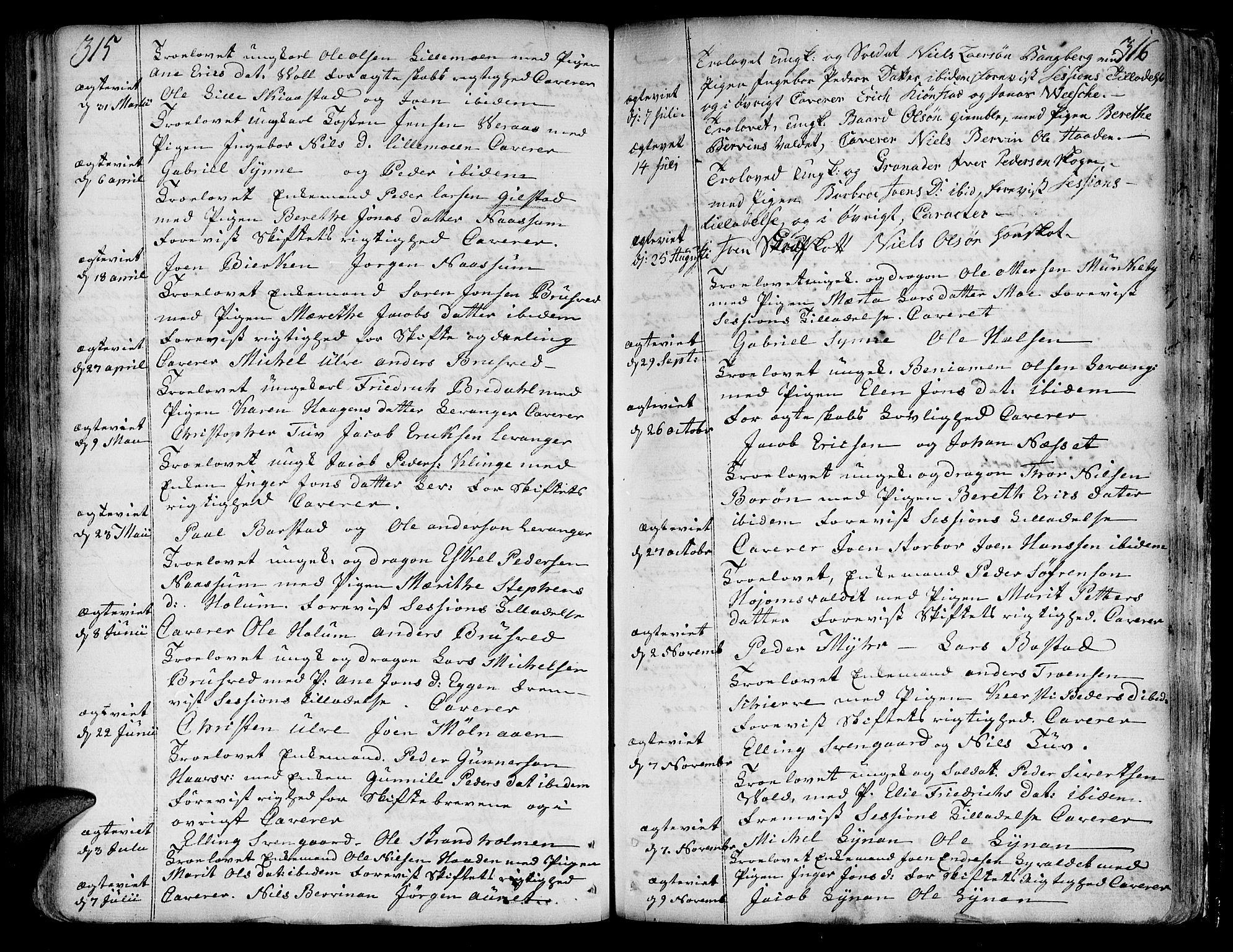 SAT, Ministerialprotokoller, klokkerbøker og fødselsregistre - Nord-Trøndelag, 717/L0141: Ministerialbok nr. 717A01, 1747-1803, s. 315-316