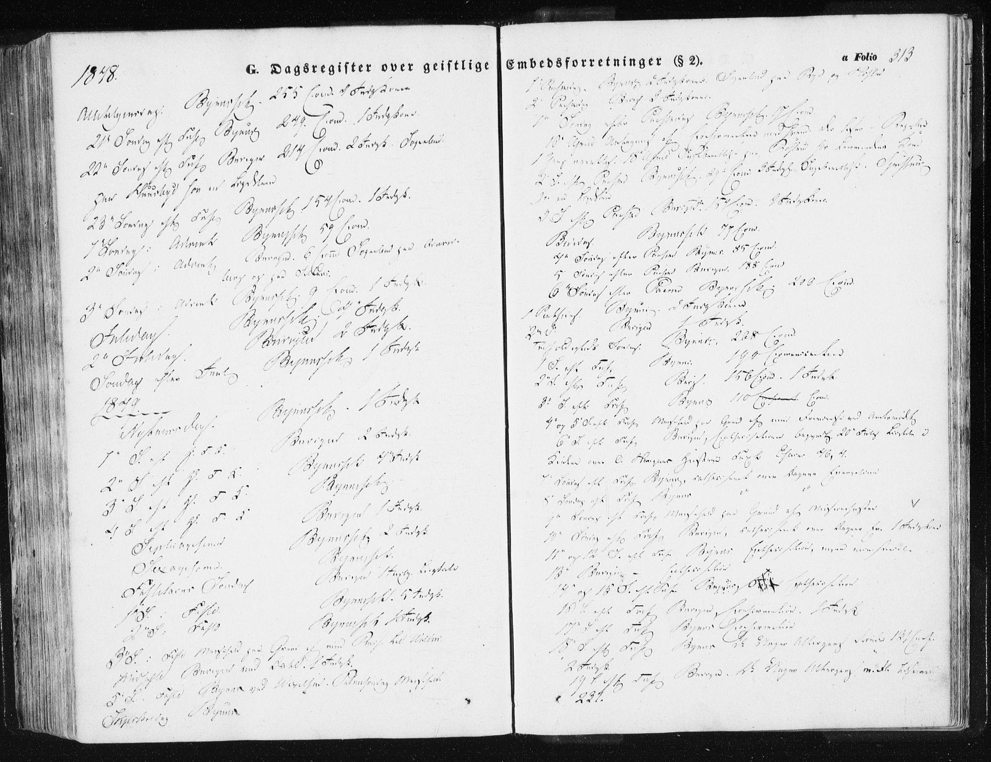 SAT, Ministerialprotokoller, klokkerbøker og fødselsregistre - Sør-Trøndelag, 612/L0376: Ministerialbok nr. 612A08, 1846-1859, s. 313