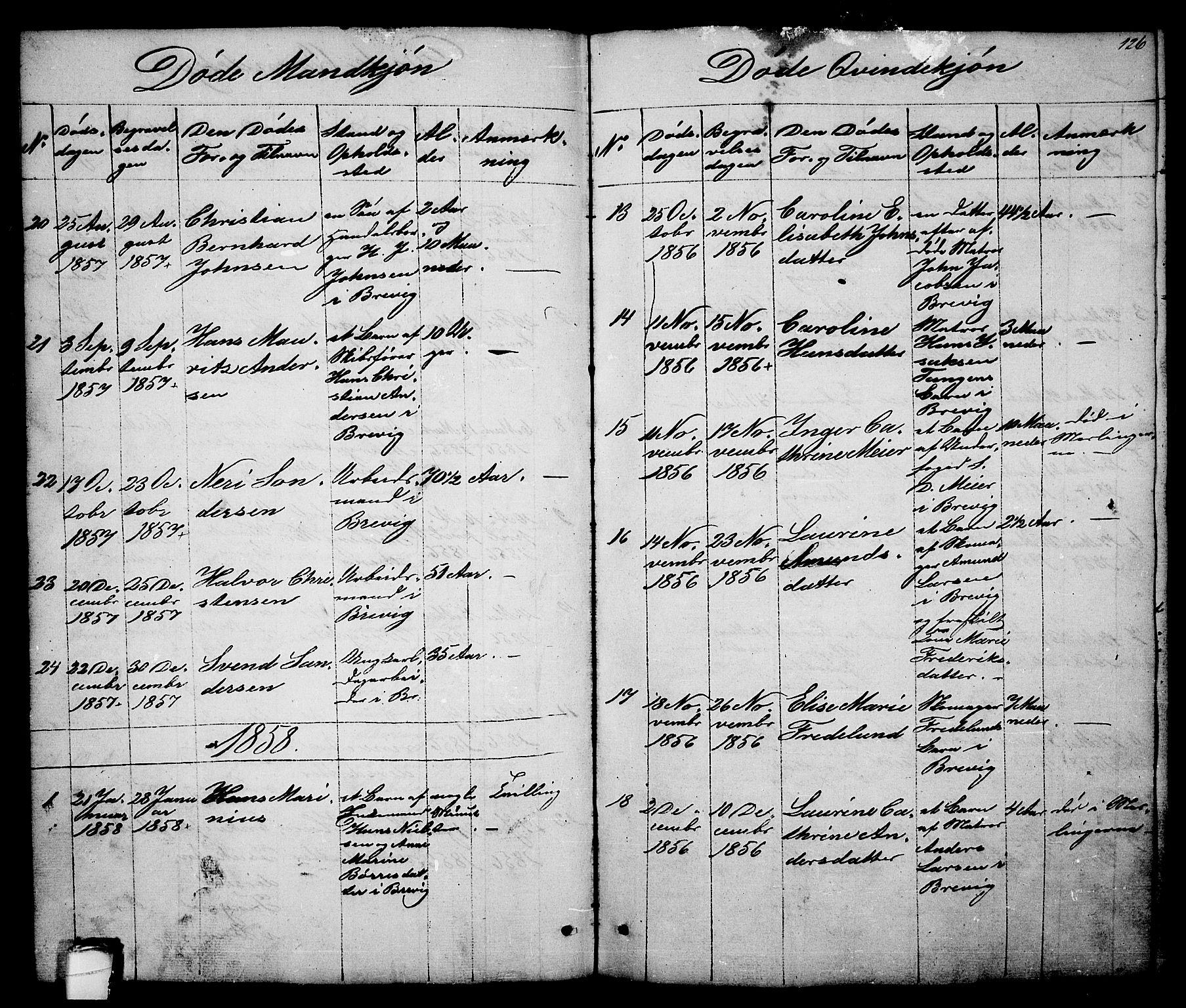 SAKO, Brevik kirkebøker, G/Ga/L0002: Klokkerbok nr. 2, 1846-1865, s. 126