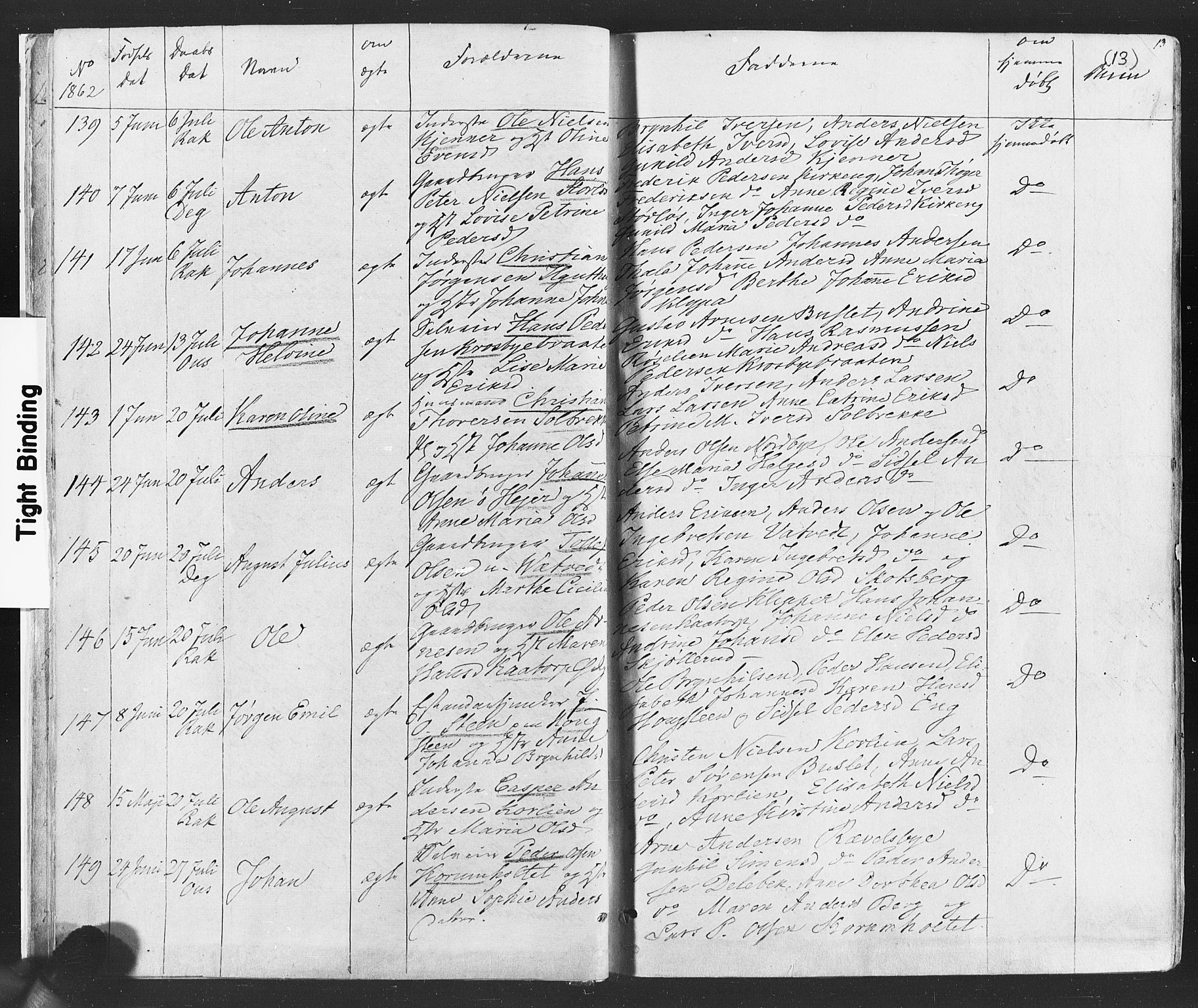 SAO, Rakkestad prestekontor Kirkebøker, F/Fa/L0011: Ministerialbok nr. I 11, 1862-1877, s. 13