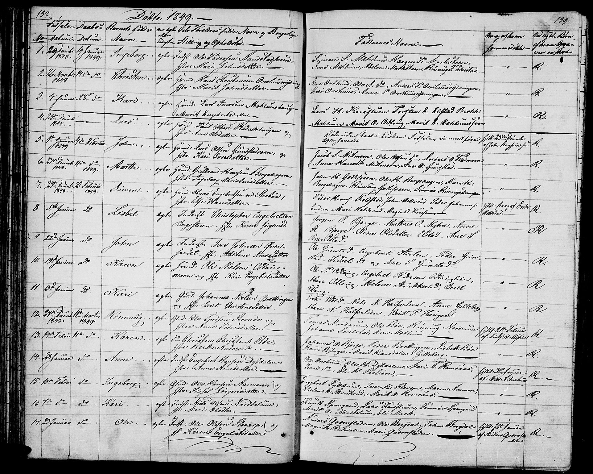 SAH, Ringebu prestekontor, Klokkerbok nr. 2, 1839-1853, s. 138-139