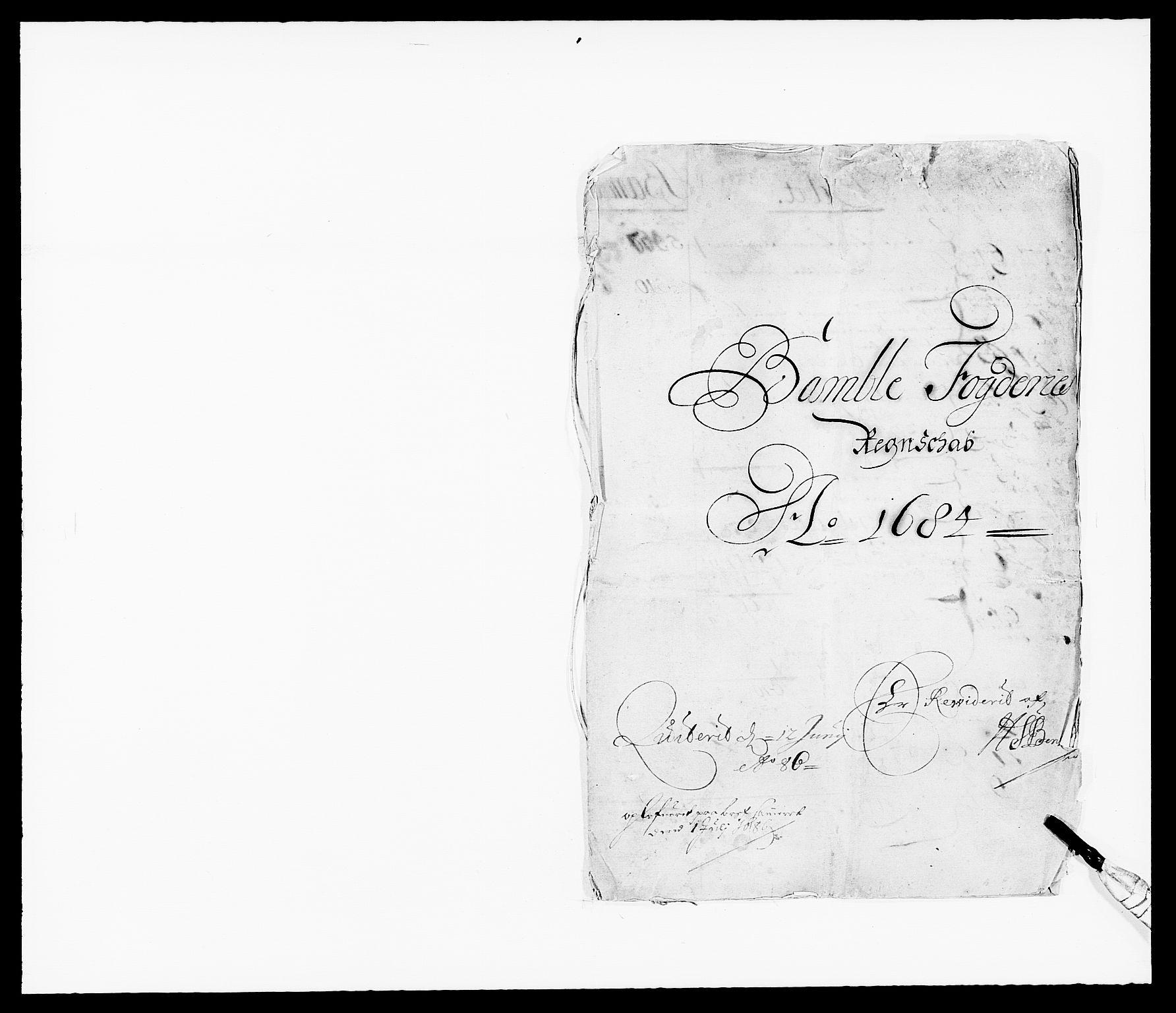 RA, Rentekammeret inntil 1814, Reviderte regnskaper, Fogderegnskap, R34/L2047: Fogderegnskap Bamble, 1684, s. 1