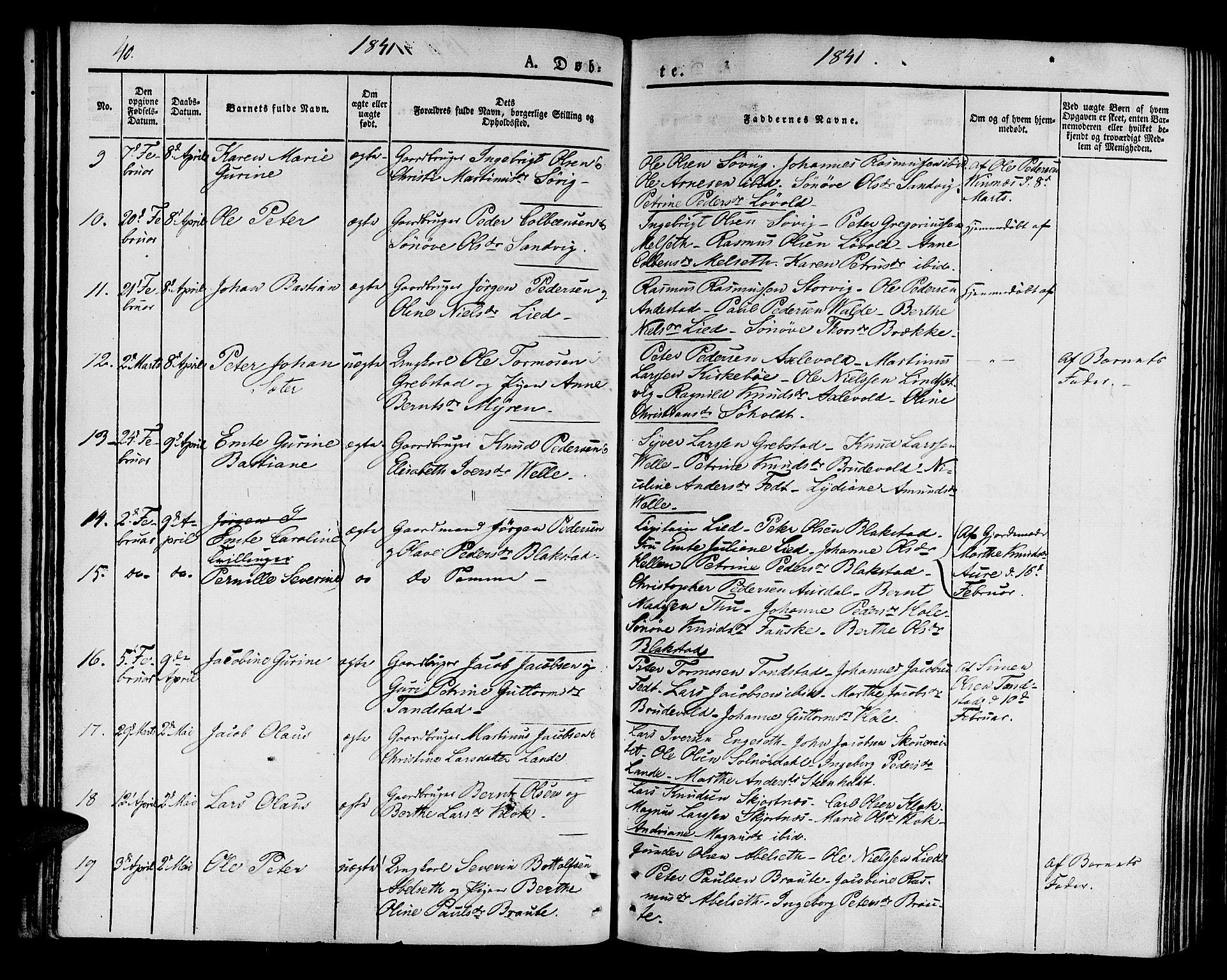 SAT, Ministerialprotokoller, klokkerbøker og fødselsregistre - Møre og Romsdal, 522/L0311: Ministerialbok nr. 522A06, 1832-1842, s. 40