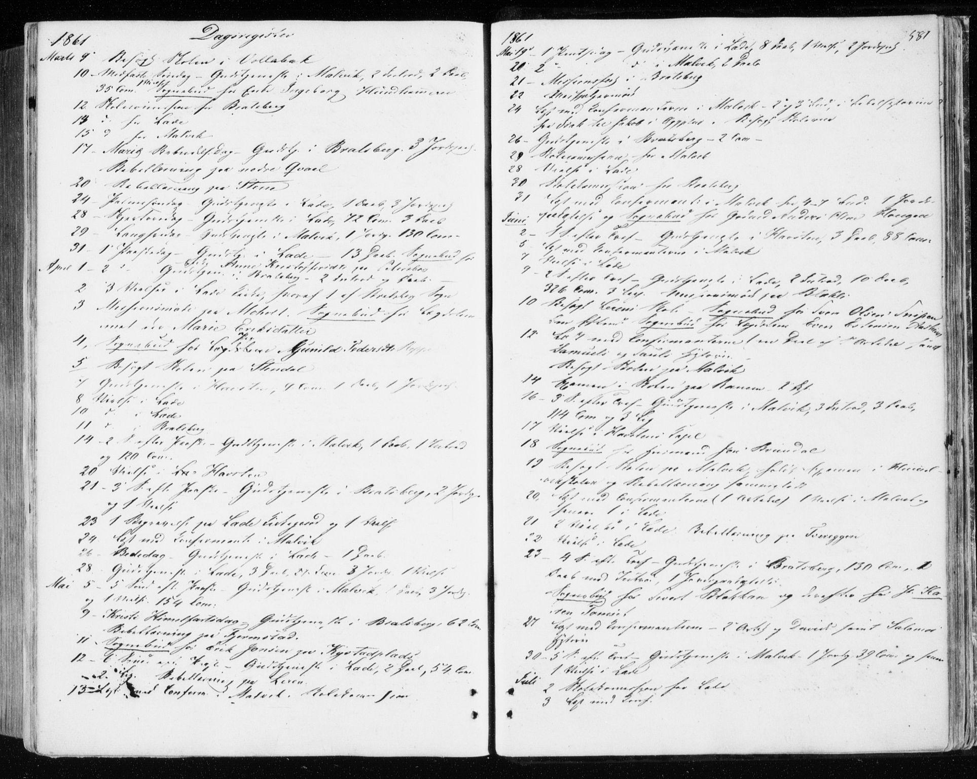 SAT, Ministerialprotokoller, klokkerbøker og fødselsregistre - Sør-Trøndelag, 606/L0292: Ministerialbok nr. 606A07, 1856-1865, s. 581