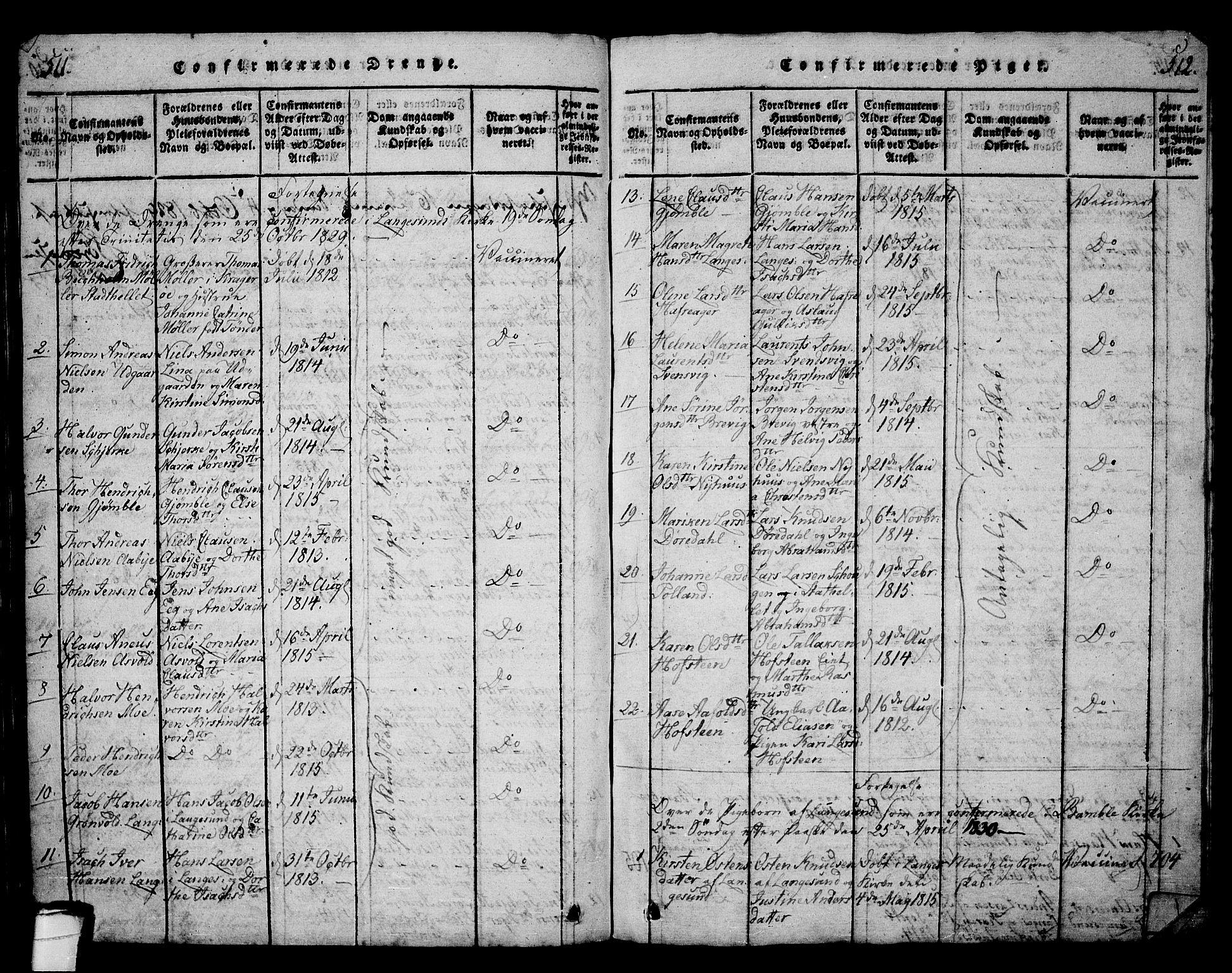 SAKO, Langesund kirkebøker, G/Ga/L0003: Klokkerbok nr. 3, 1815-1858, s. 511-512