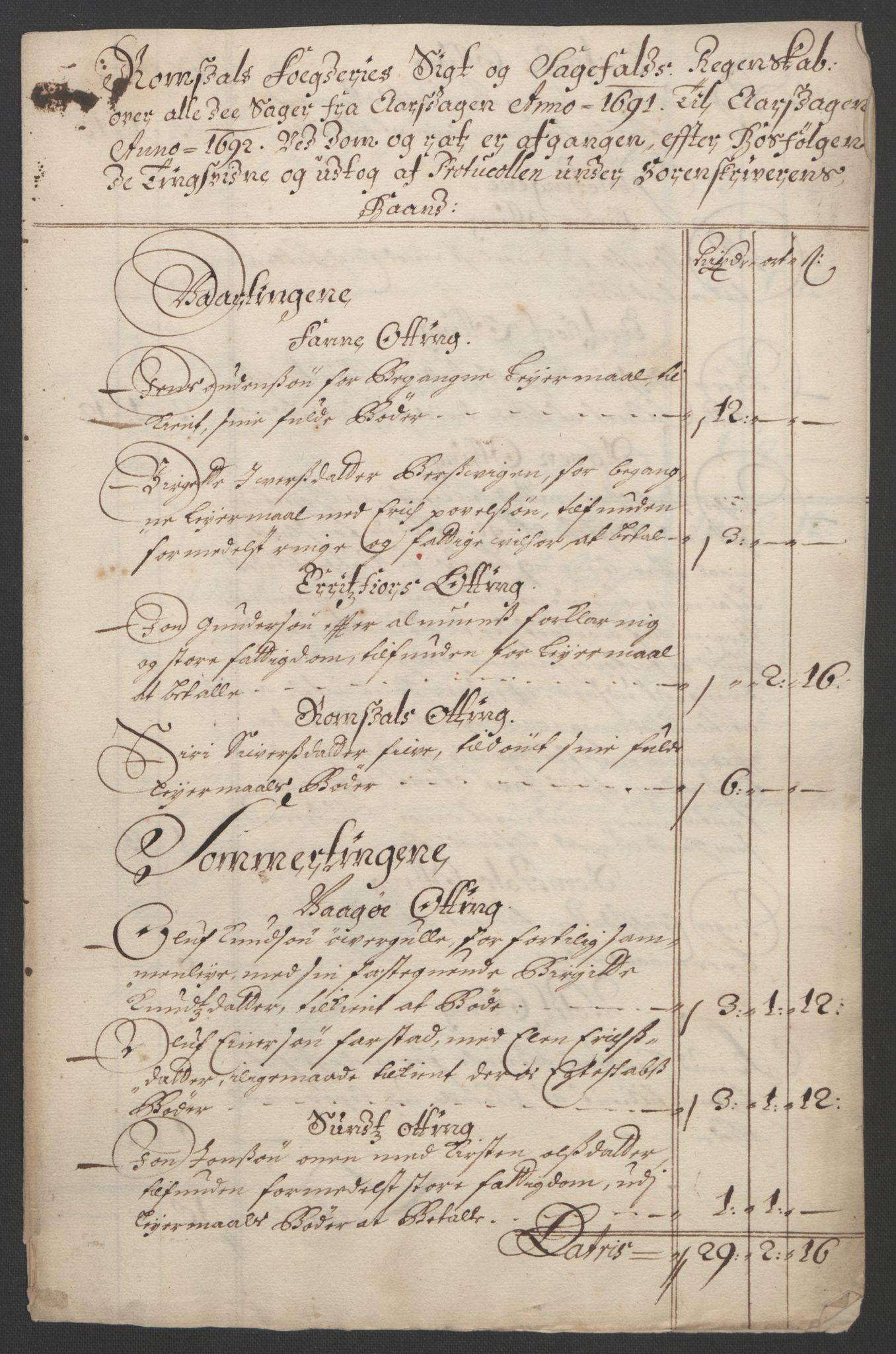 RA, Rentekammeret inntil 1814, Reviderte regnskaper, Fogderegnskap, R55/L3649: Fogderegnskap Romsdal, 1690-1691, s. 324