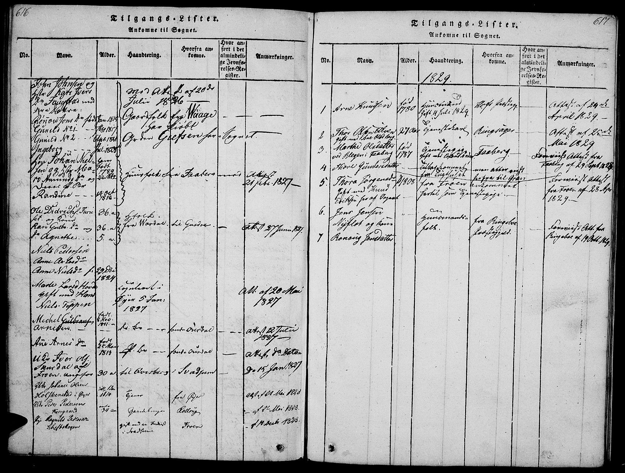 SAH, Gausdal prestekontor, Ministerialbok nr. 5, 1817-1829, s. 616-617