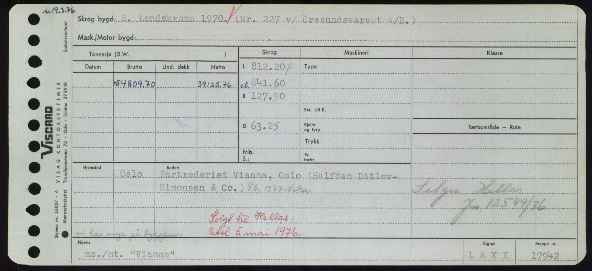 RA, Sjøfartsdirektoratet med forløpere, Skipsmålingen, H/Hd/L0041: Fartøy, Vi-Ås, s. 1