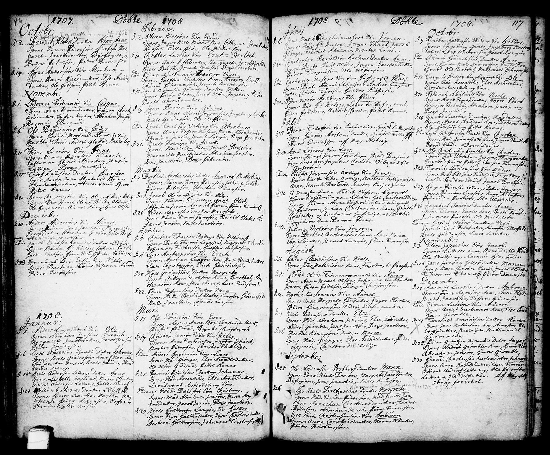 SAKO, Kragerø kirkebøker, F/Fa/L0001: Ministerialbok nr. 1, 1702-1766, s. 116-117