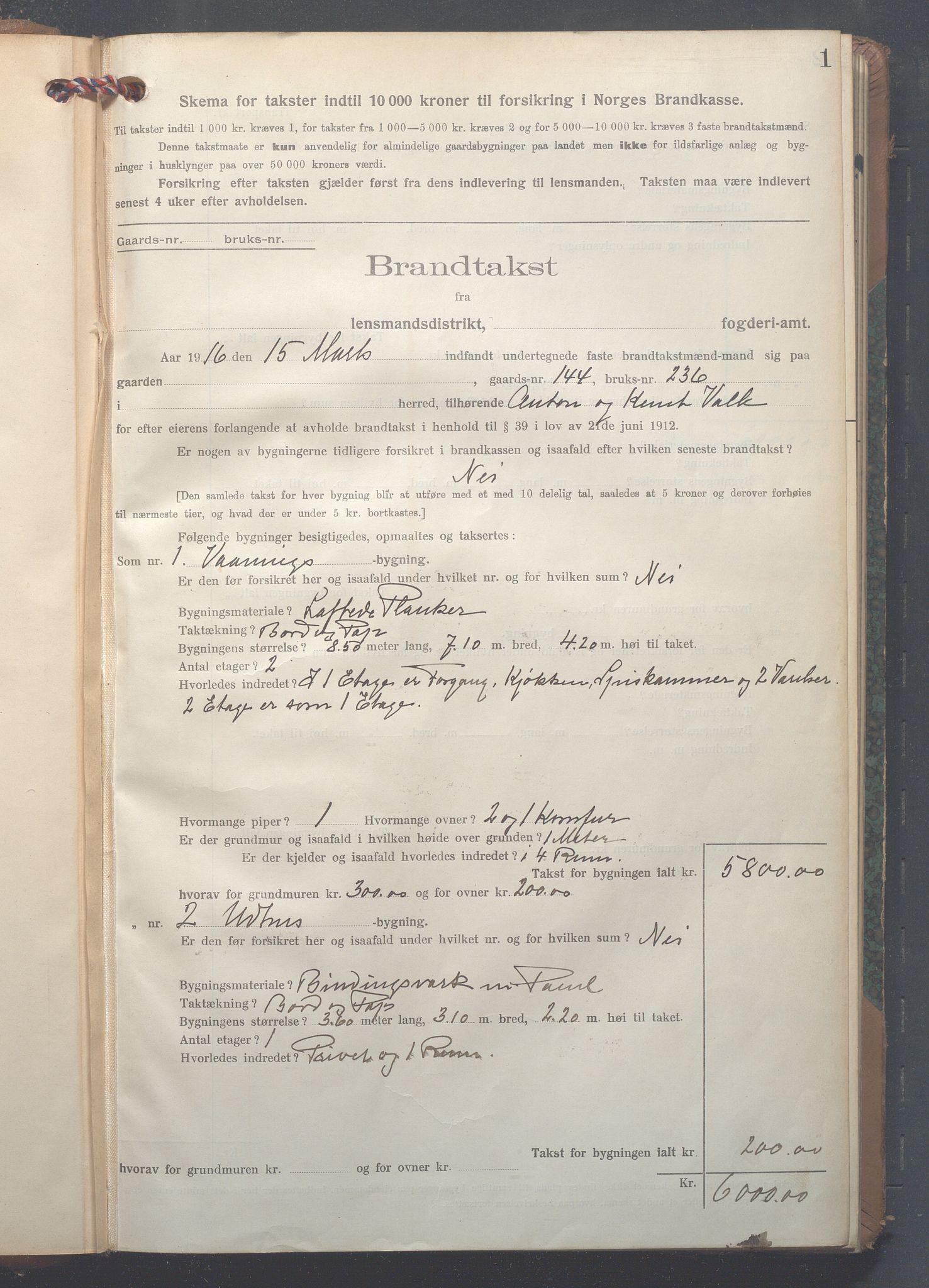 OBA, Lensmennene i Aker, F/Fc/L0017: Branntakstprotokoll, 1916-1921, s. 1