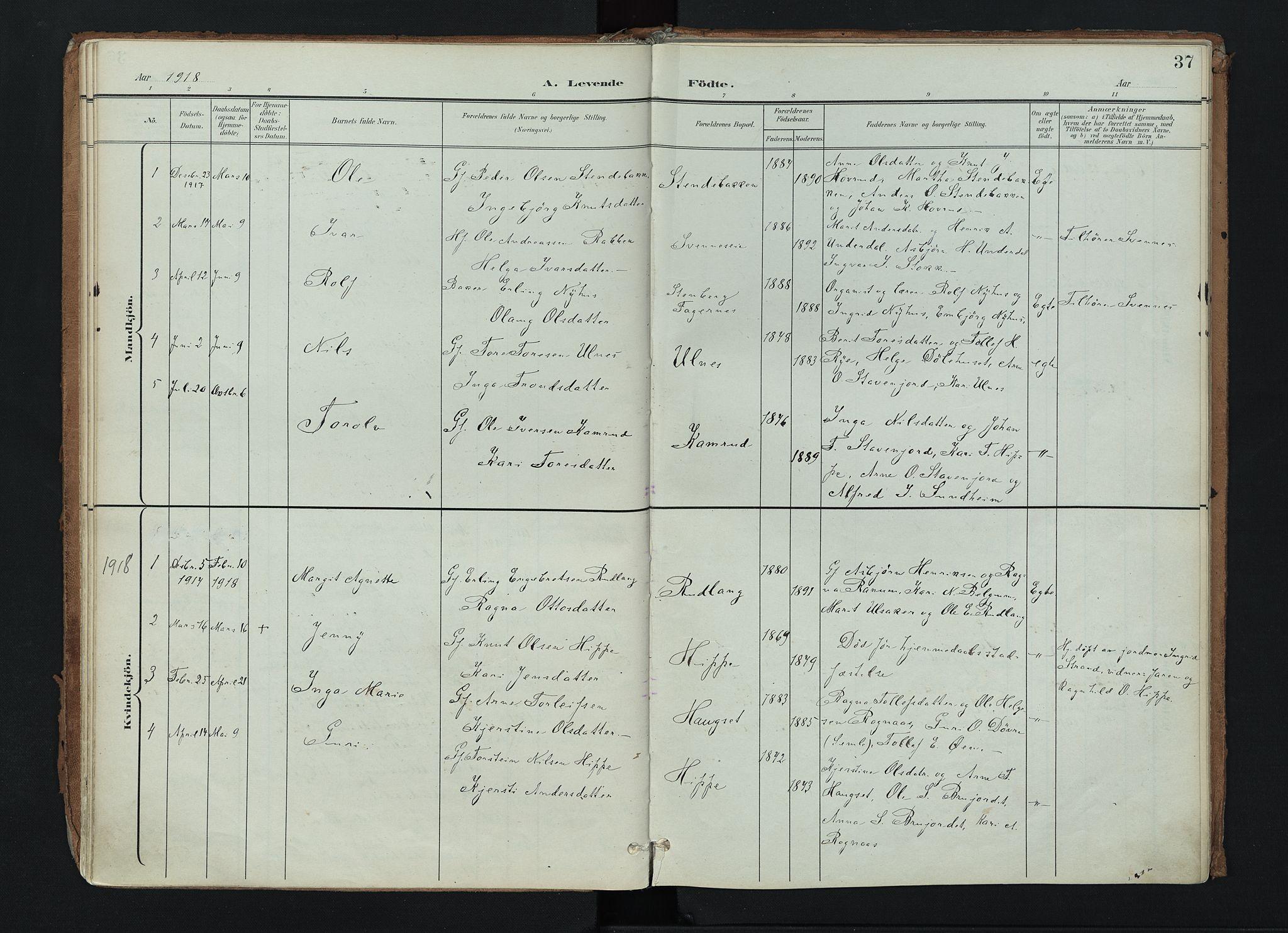 SAH, Nord-Aurdal prestekontor, Ministerialbok nr. 17, 1897-1926, s. 37