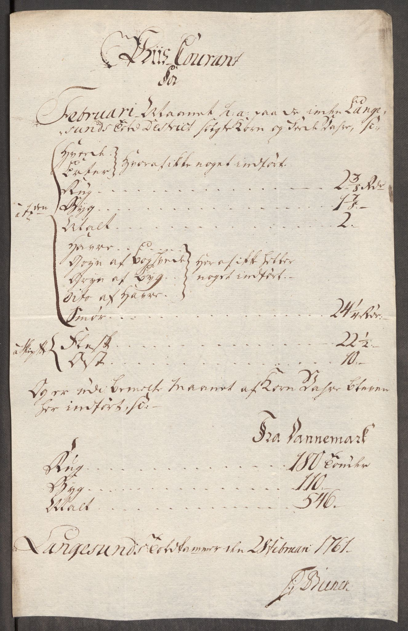 RA, Rentekammeret inntil 1814, Realistisk ordnet avdeling, Oe/L0007: [Ø1]: Priskuranter, 1761-1763, s. 190