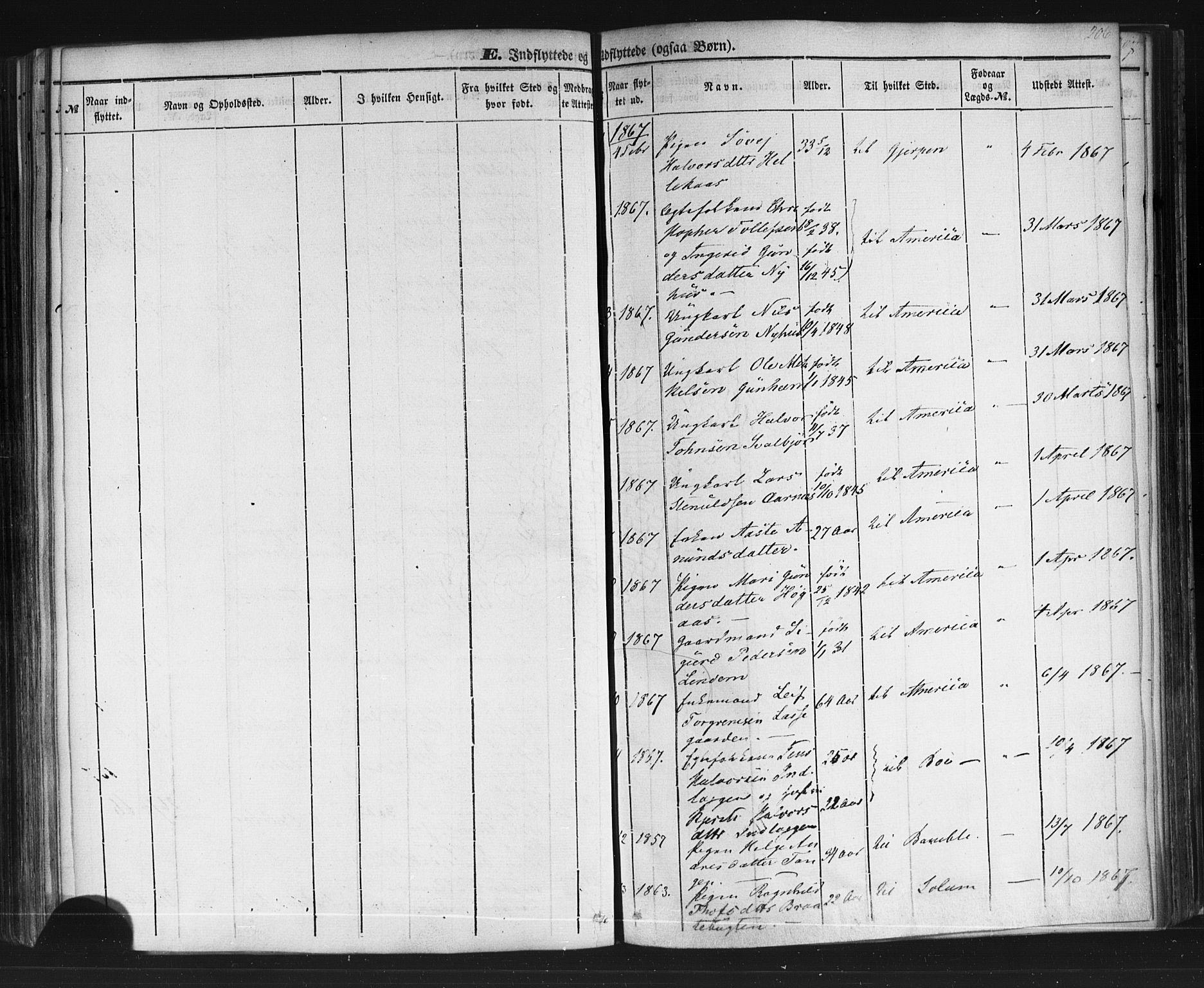 SAKO, Sauherad kirkebøker, F/Fb/L0001: Ministerialbok nr. II 1, 1851-1877, s. 206
