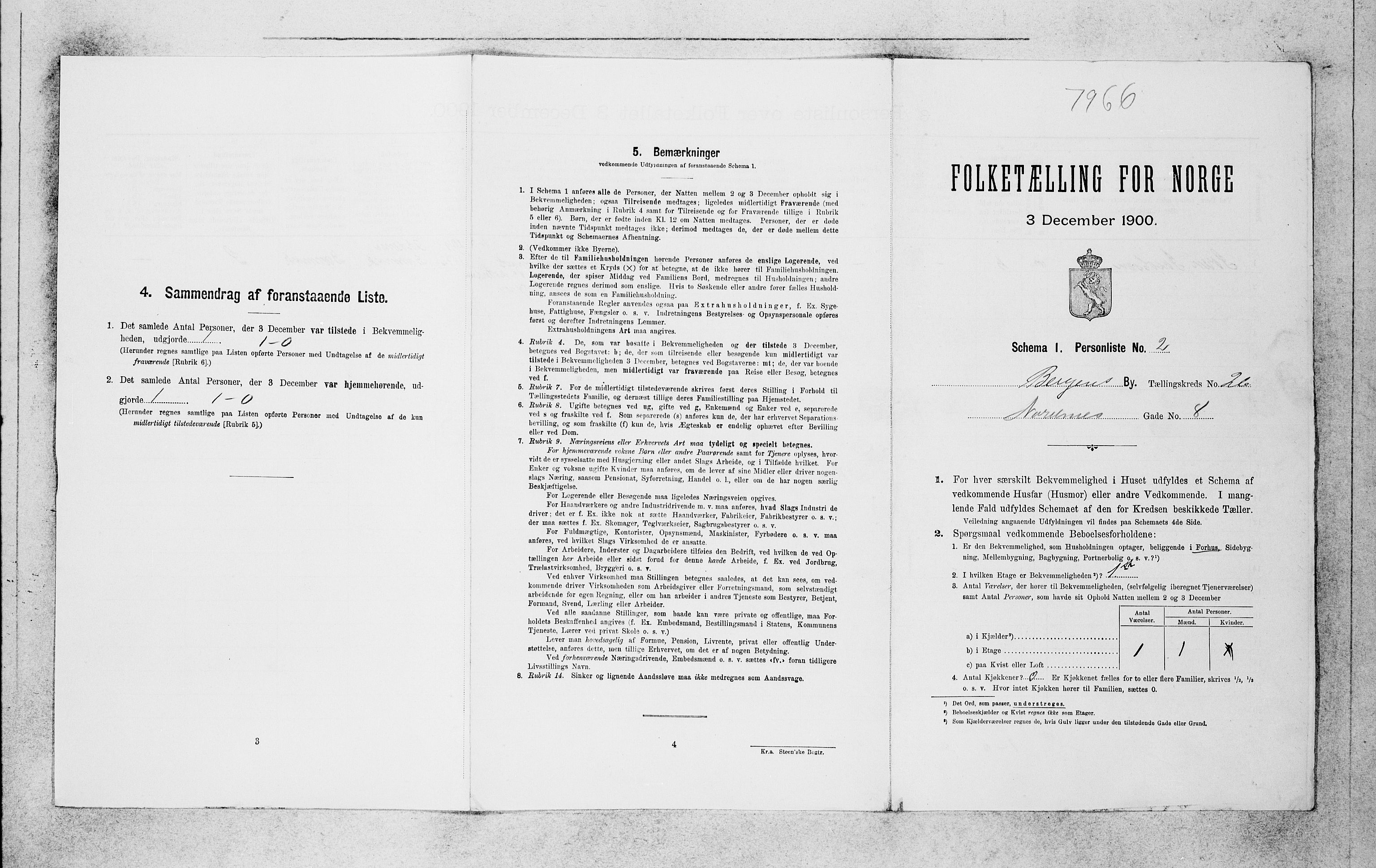 SAB, Folketelling 1900 for 1301 Bergen kjøpstad, 1900, s. 5588