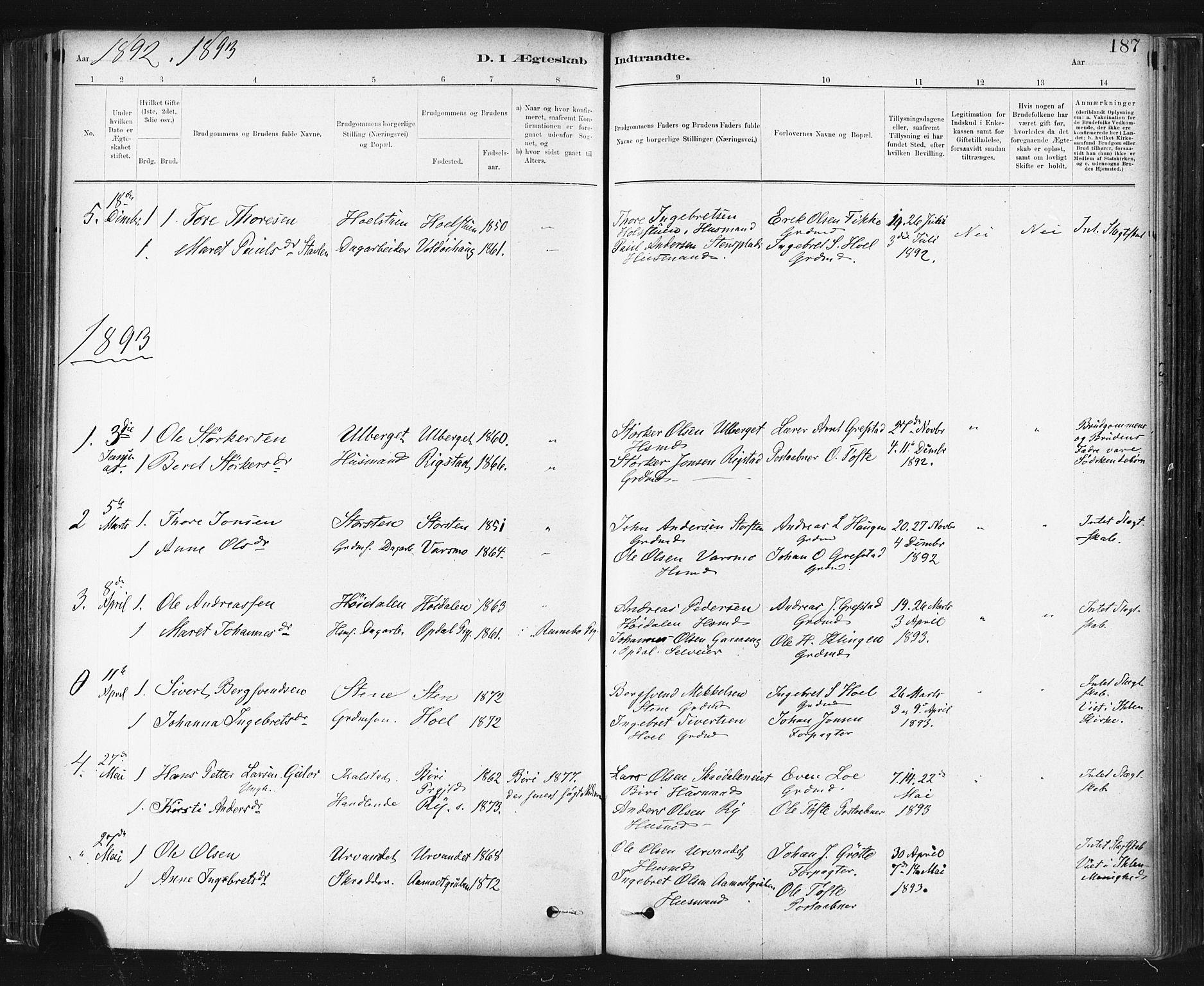 SAT, Ministerialprotokoller, klokkerbøker og fødselsregistre - Sør-Trøndelag, 672/L0857: Ministerialbok nr. 672A09, 1882-1893, s. 187