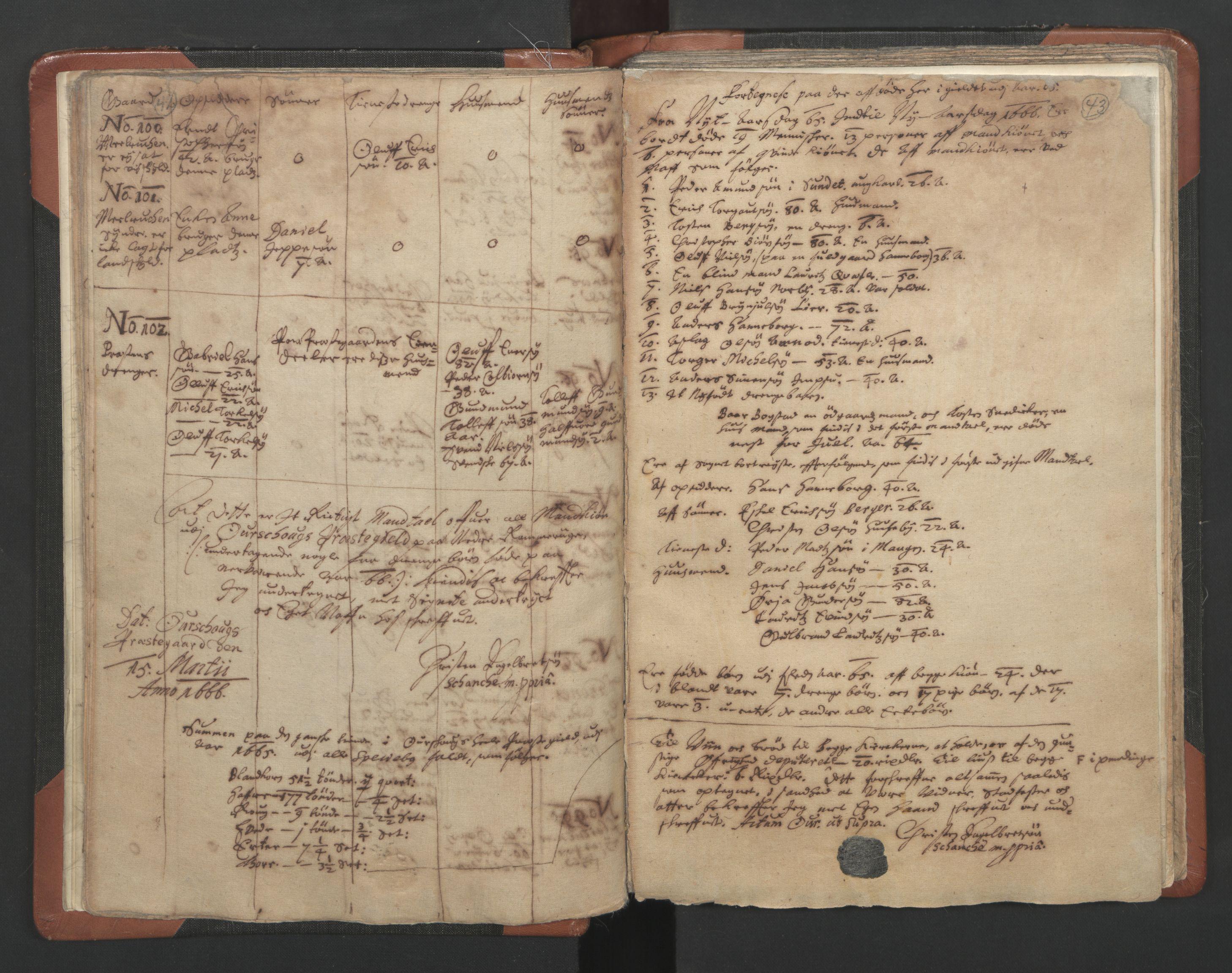 RA, Sogneprestenes manntall 1664-1666, nr. 3: Nedre Romerike prosti, 1664-1666, s. 42-43