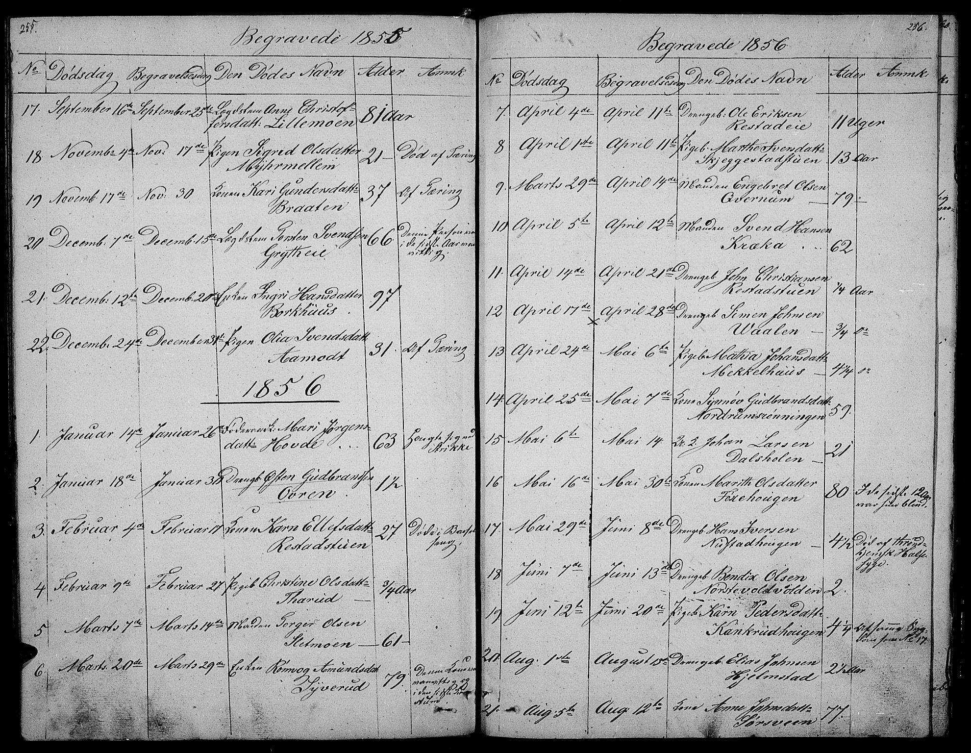 SAH, Gausdal prestekontor, Klokkerbok nr. 3, 1829-1864, s. 255-256