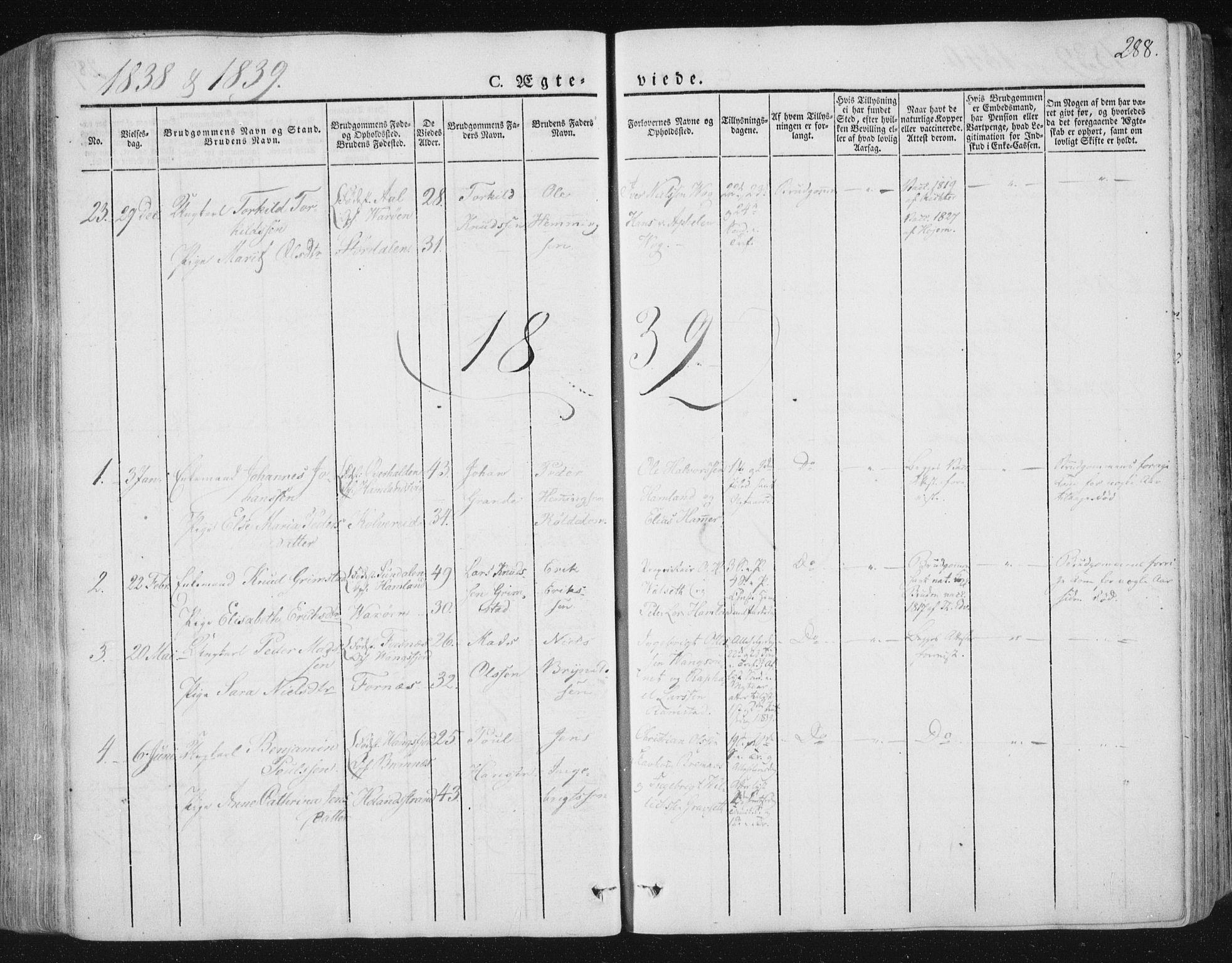 SAT, Ministerialprotokoller, klokkerbøker og fødselsregistre - Nord-Trøndelag, 784/L0669: Ministerialbok nr. 784A04, 1829-1859, s. 288