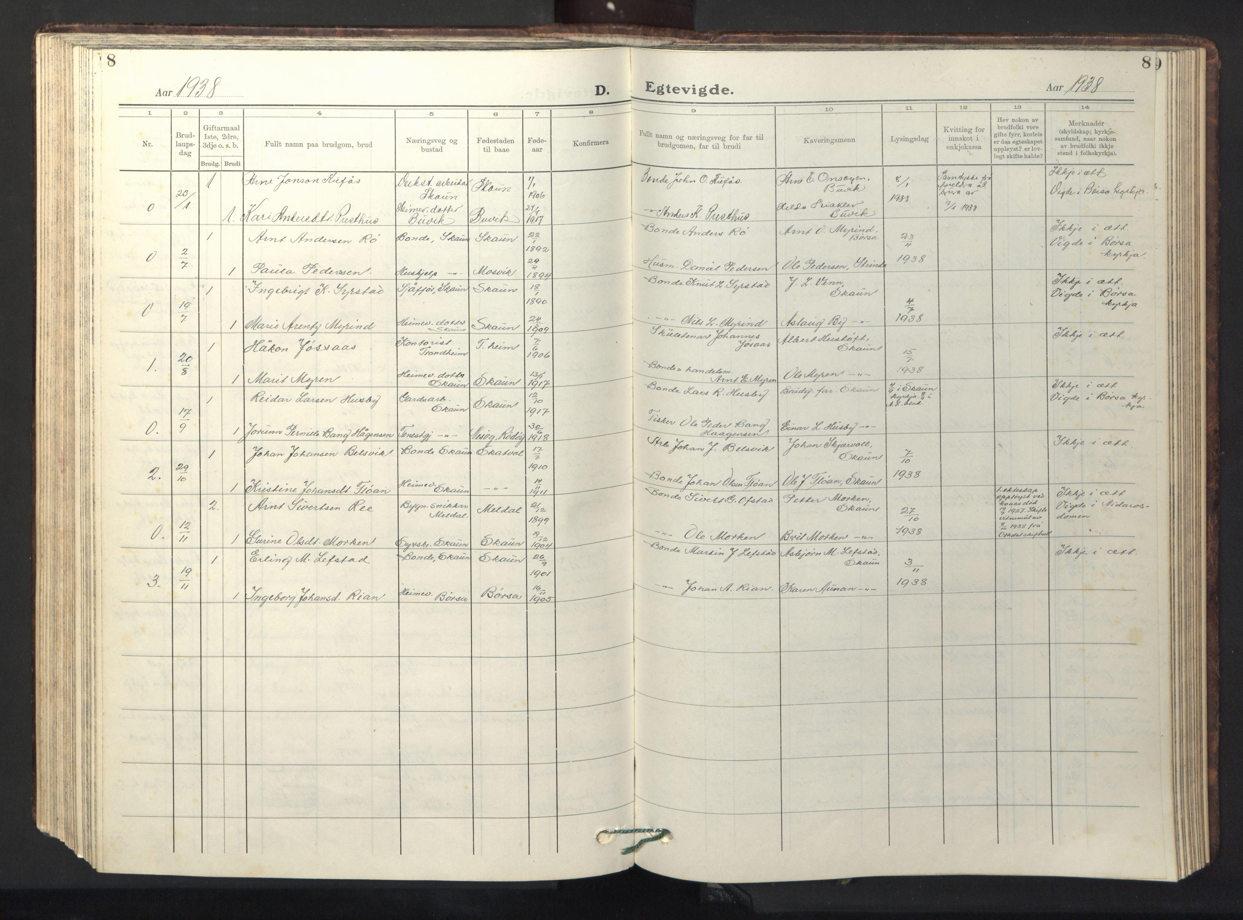SAT, Ministerialprotokoller, klokkerbøker og fødselsregistre - Sør-Trøndelag, 667/L0799: Klokkerbok nr. 667C04, 1929-1950, s. 8