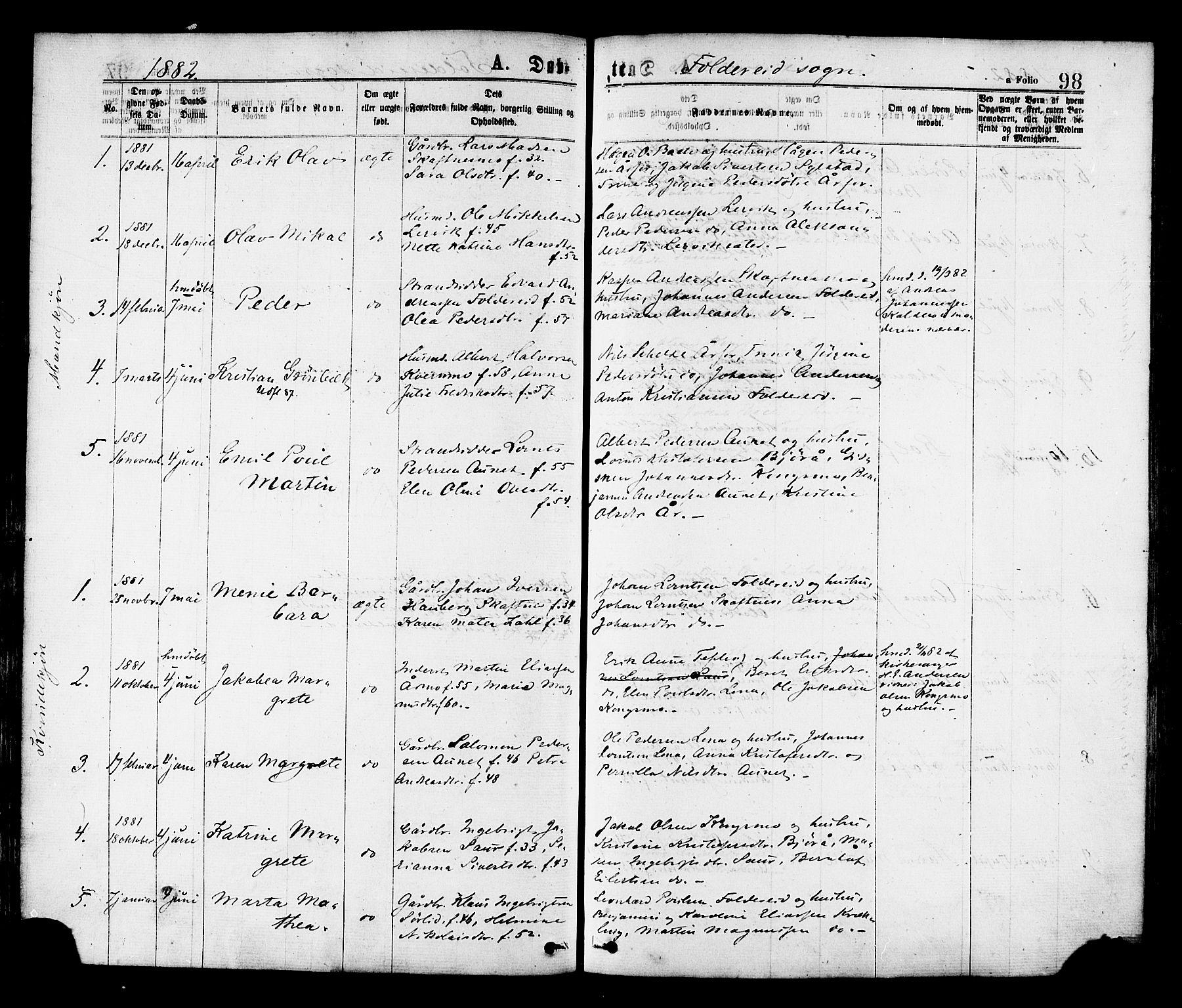 SAT, Ministerialprotokoller, klokkerbøker og fødselsregistre - Nord-Trøndelag, 780/L0642: Ministerialbok nr. 780A07 /2, 1878-1885, s. 98