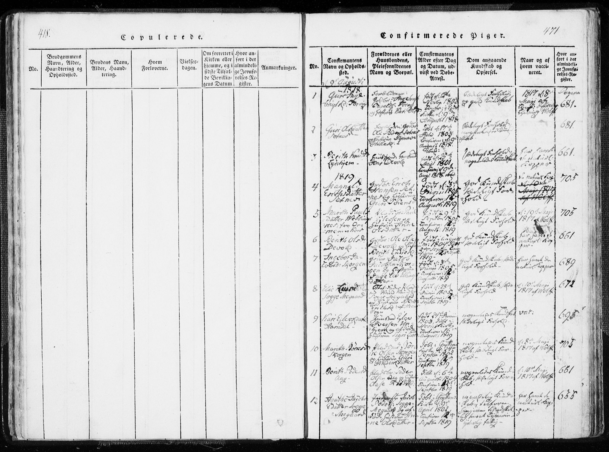 SAT, Ministerialprotokoller, klokkerbøker og fødselsregistre - Møre og Romsdal, 544/L0571: Ministerialbok nr. 544A04, 1818-1853, s. 470-471