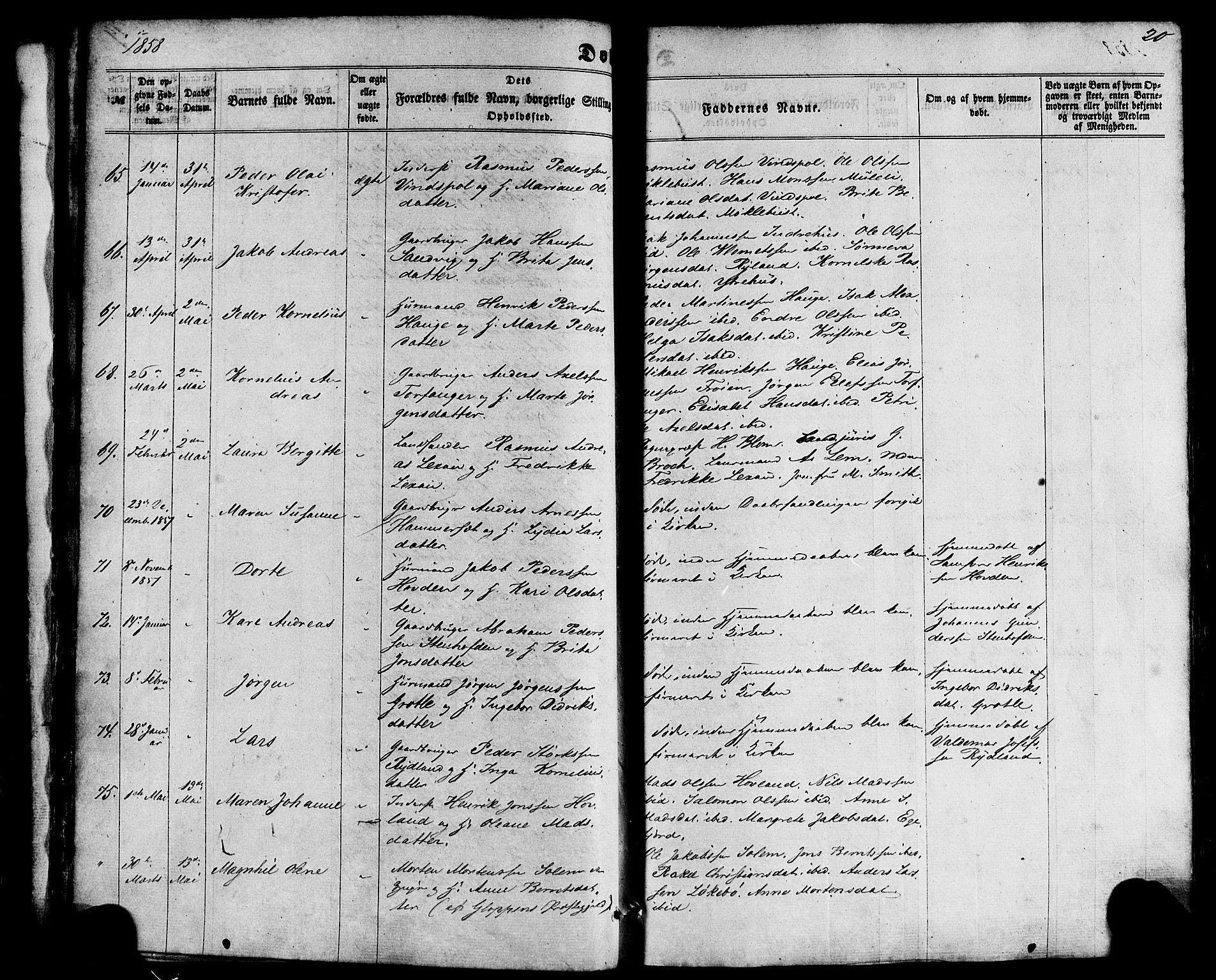 SAB, Kinn Sokneprestembete, Ministerialbok nr. A 6, 1857-1885, s. 20