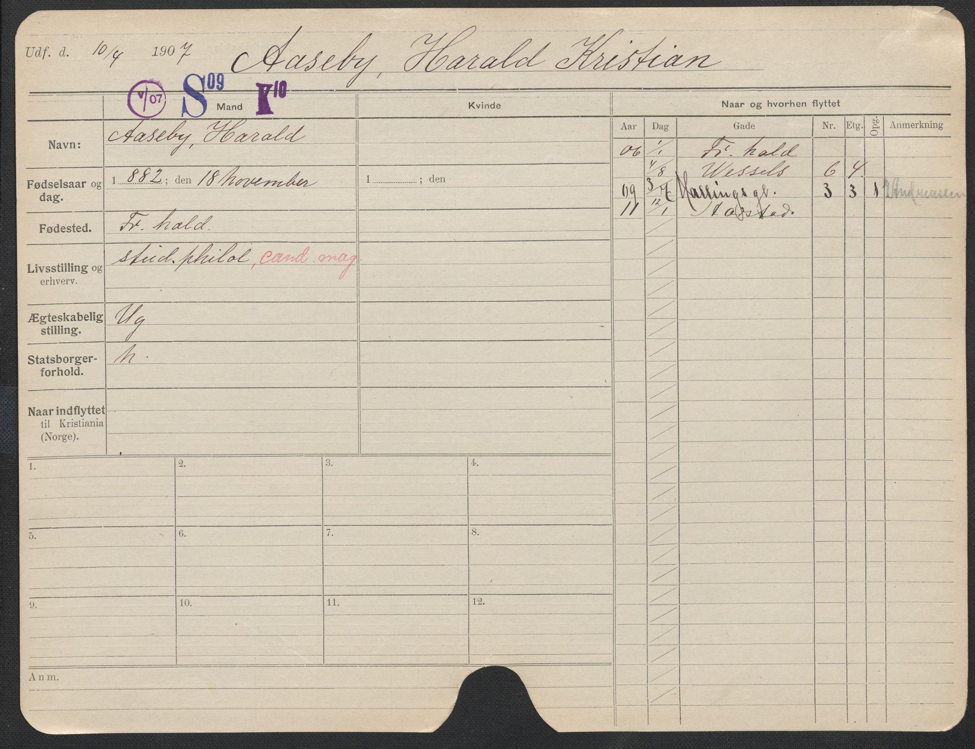 SAO, Oslo folkeregister, Registerkort, F/Fa/Fac/L0011: Menn, 1906-1914, s. 1226a