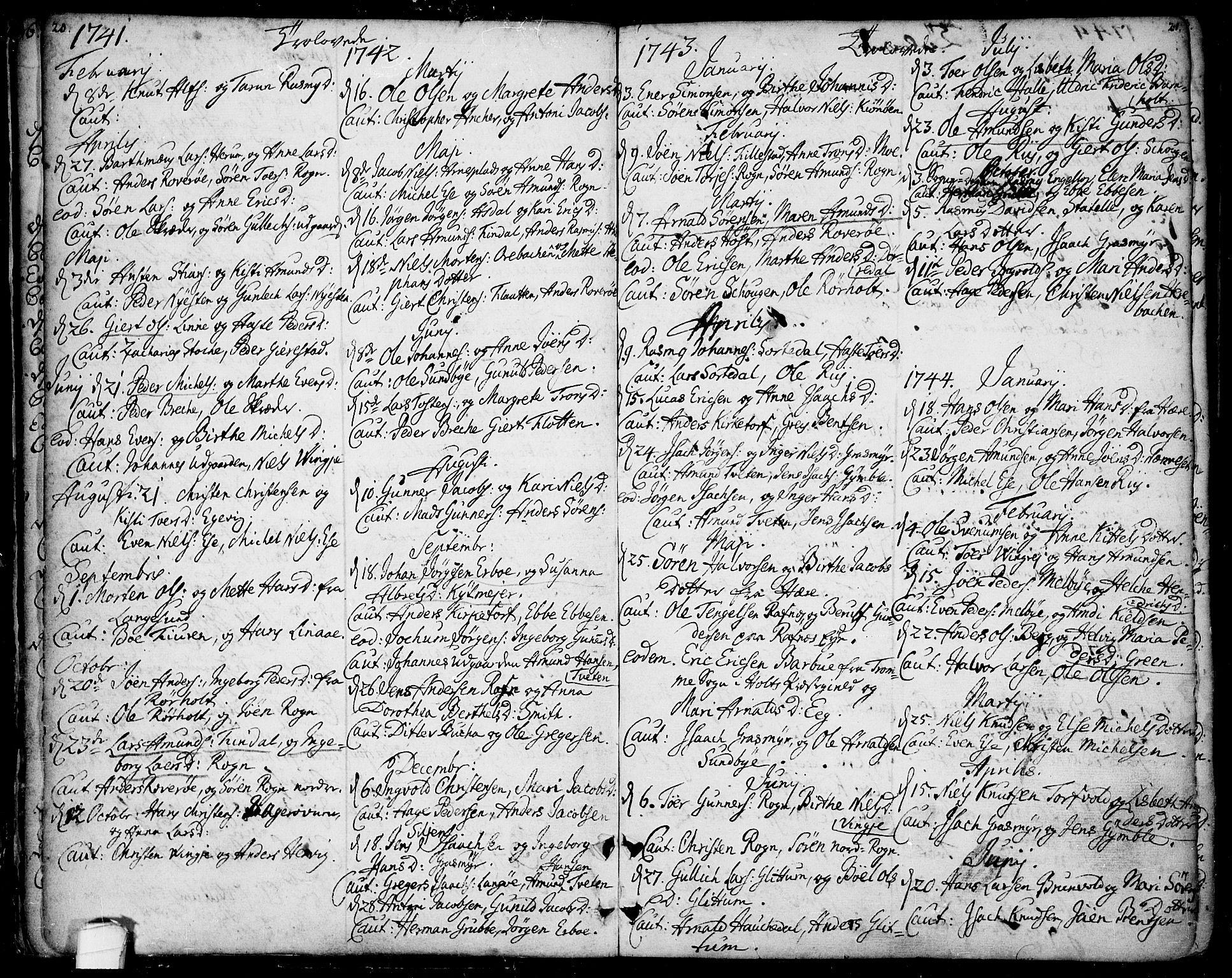 SAKO, Bamble kirkebøker, F/Fa/L0001: Ministerialbok nr. I 1, 1702-1774, s. 20-21