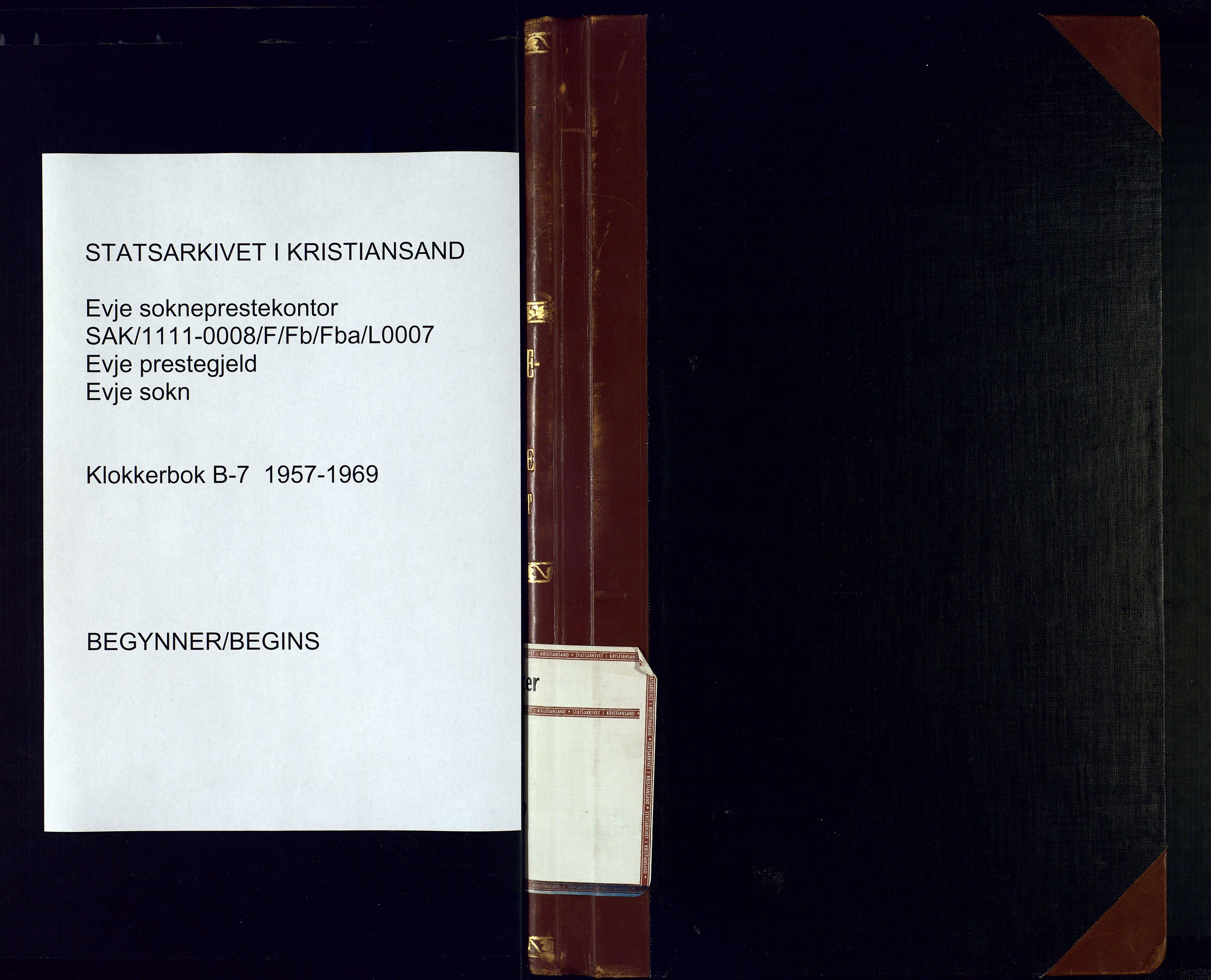 SAK, Evje sokneprestkontor, F/Fb/Fba/L0007: Klokkerbok nr. B-7, 1957-1969