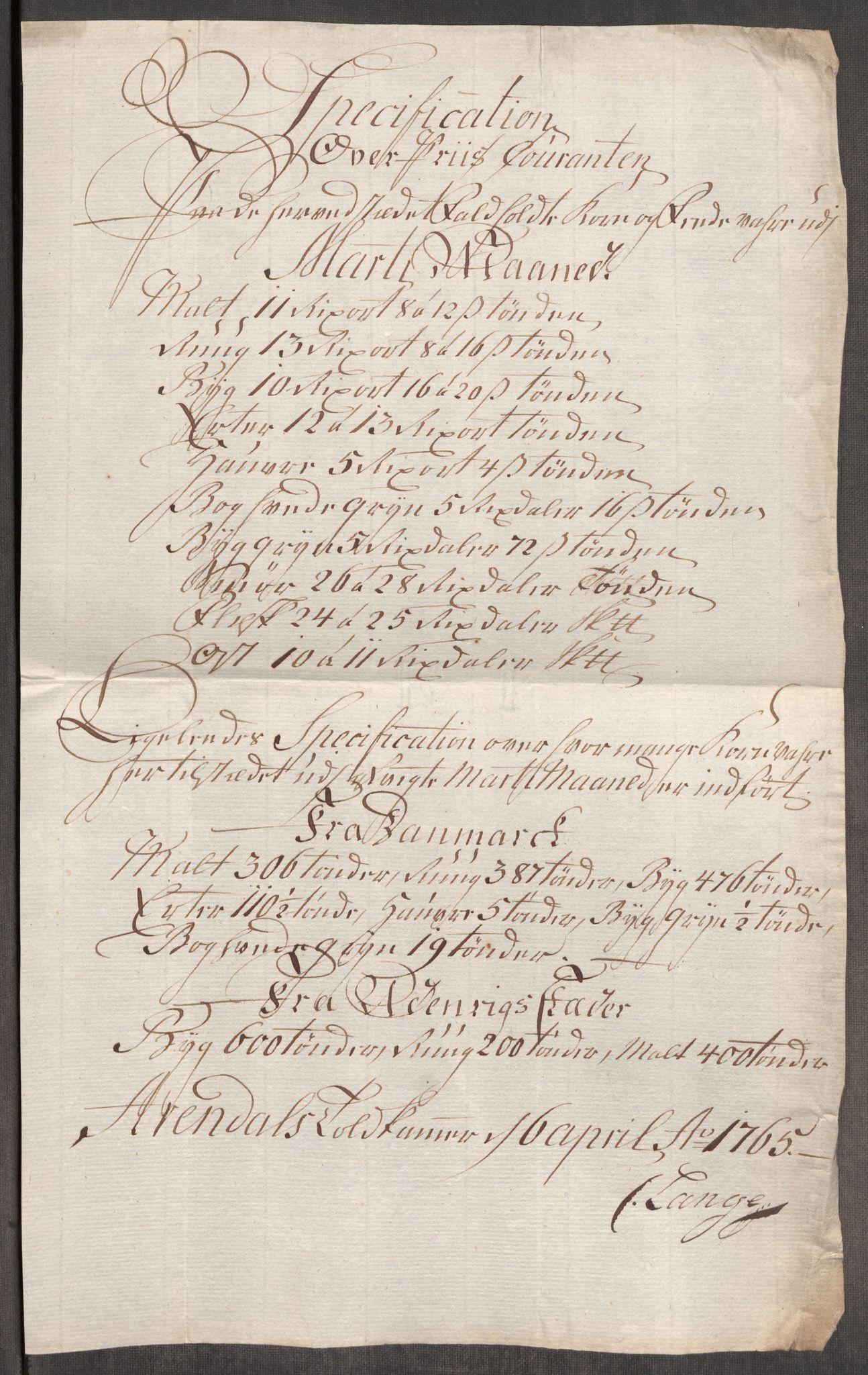 RA, Rentekammeret inntil 1814, Realistisk ordnet avdeling, Oe/L0008: [Ø1]: Priskuranter, 1764-1768, s. 437