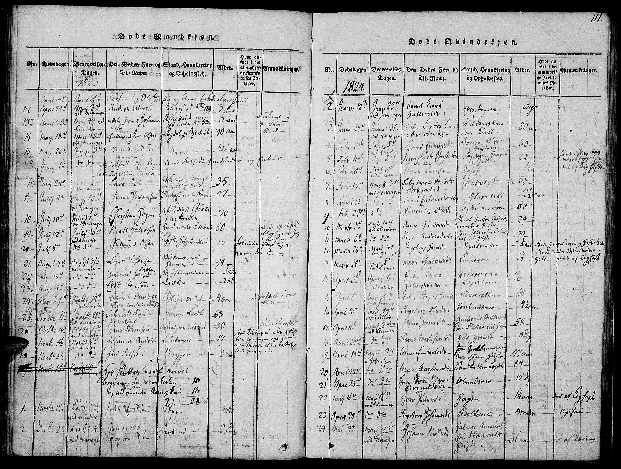 SAH, Jevnaker prestekontor, Ministerialbok nr. 5, 1815-1837, s. 111