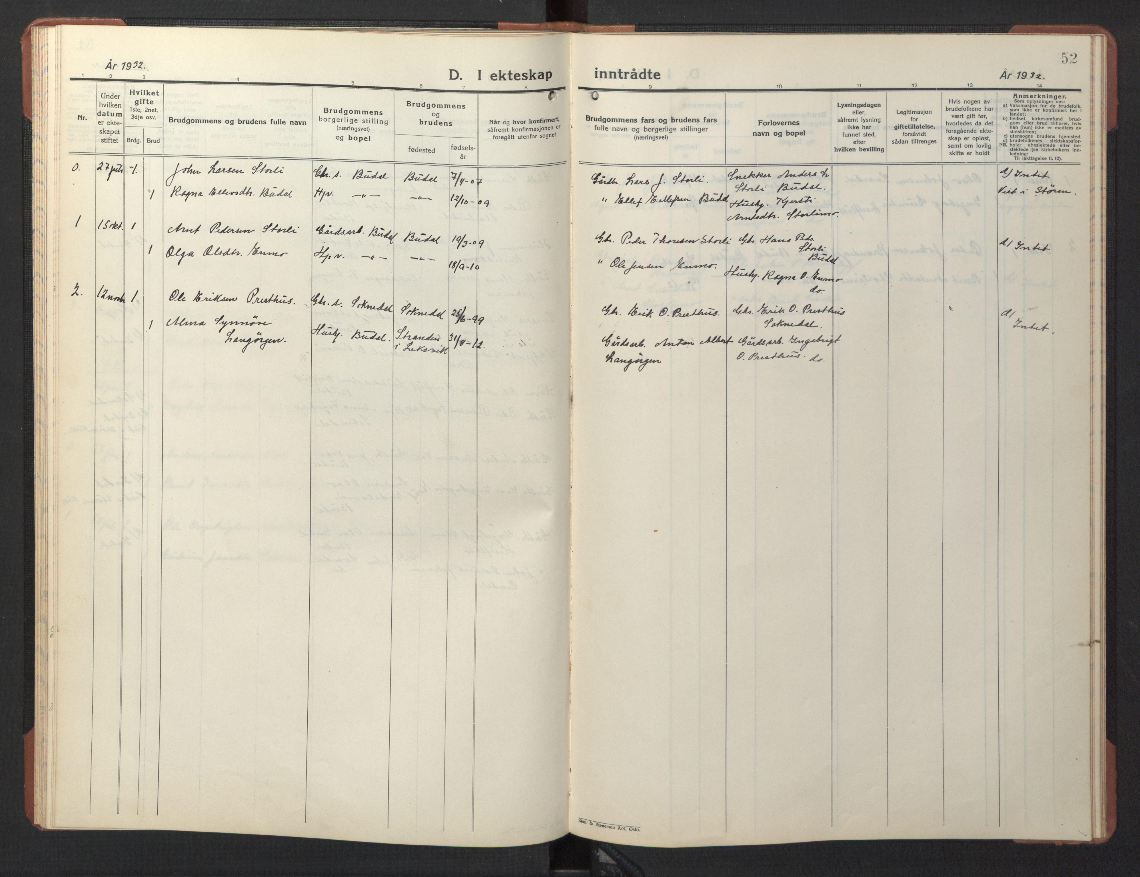 SAT, Ministerialprotokoller, klokkerbøker og fødselsregistre - Sør-Trøndelag, 690/L1053: Klokkerbok nr. 690C03, 1930-1947, s. 52