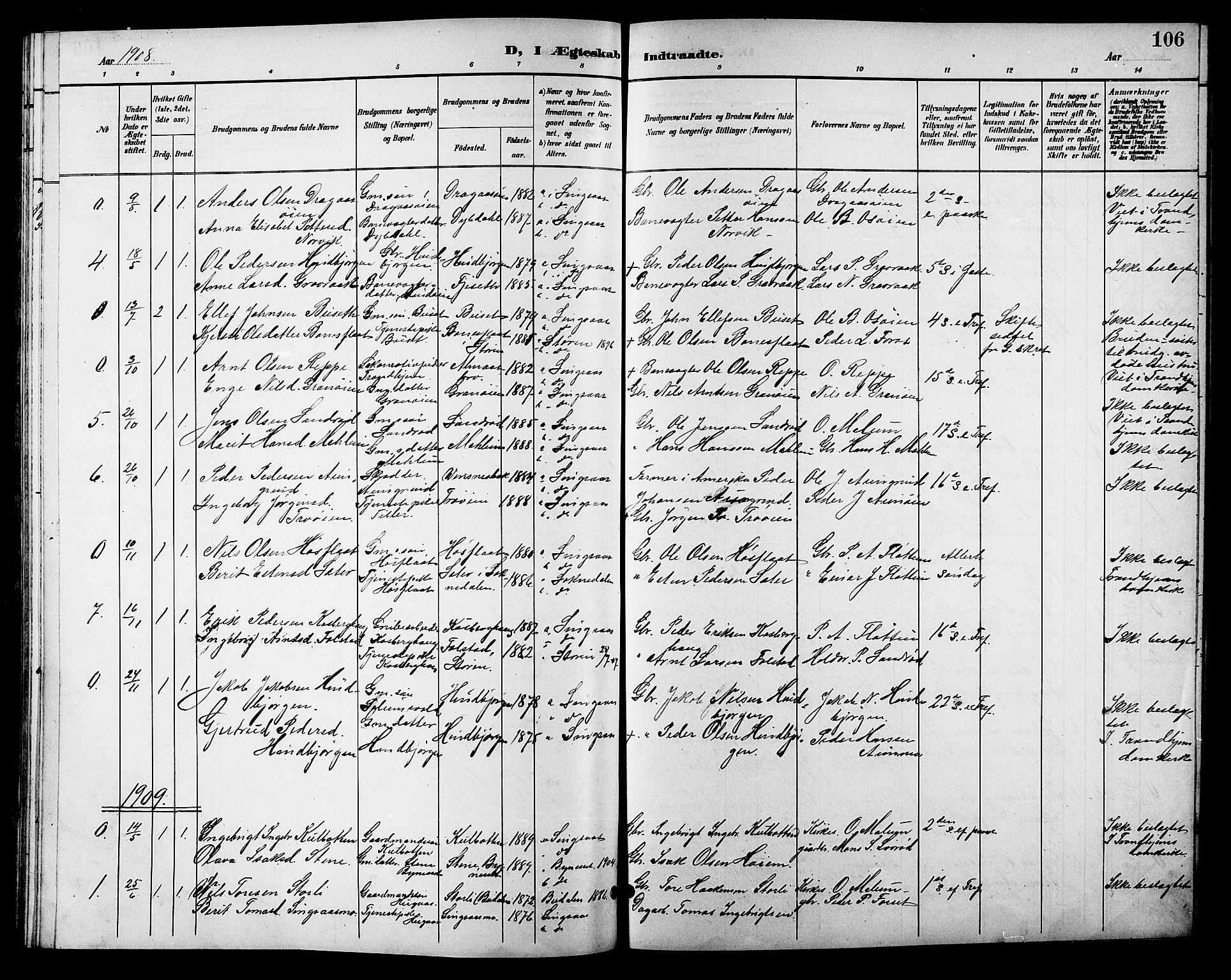 SAT, Ministerialprotokoller, klokkerbøker og fødselsregistre - Sør-Trøndelag, 688/L1029: Klokkerbok nr. 688C04, 1899-1915, s. 106