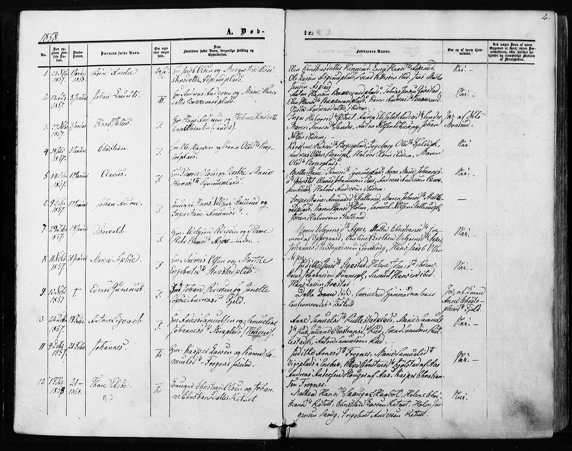 SAO, Kråkstad prestekontor Kirkebøker, F/Fa/L0007: Ministerialbok nr. I 7, 1858-1870, s. 2