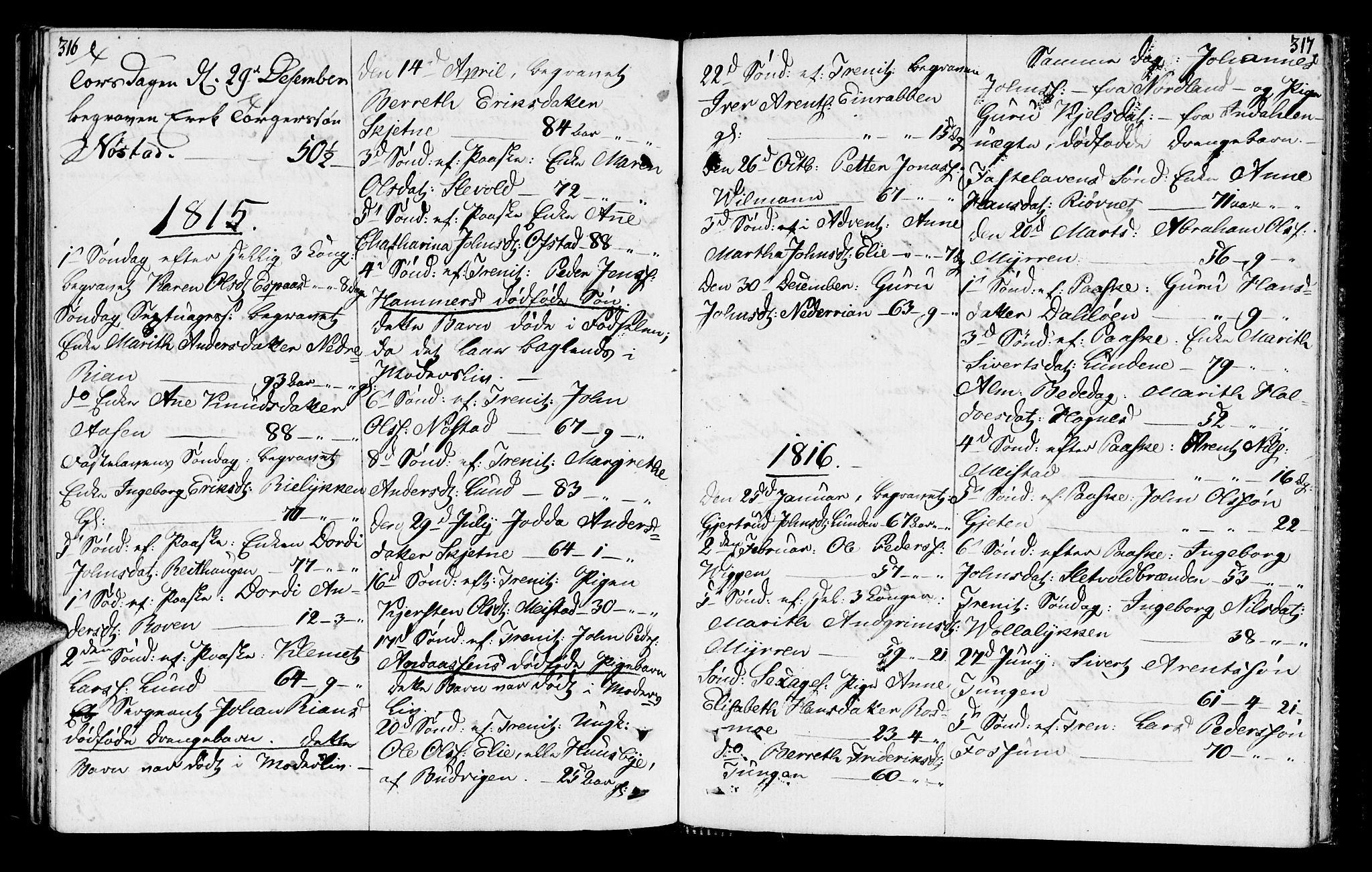 SAT, Ministerialprotokoller, klokkerbøker og fødselsregistre - Sør-Trøndelag, 665/L0769: Ministerialbok nr. 665A04, 1803-1816, s. 316-317