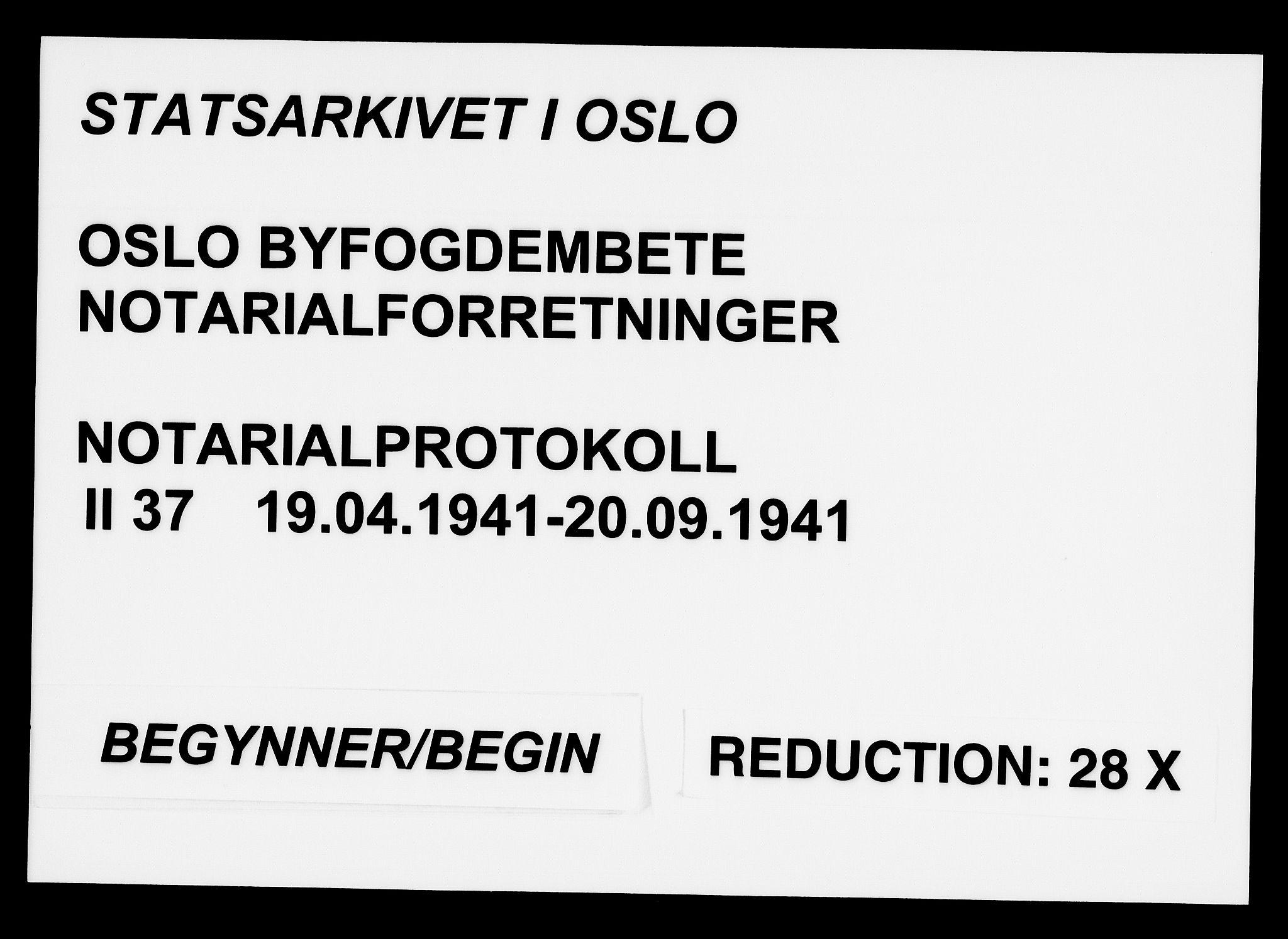 SAO, Oslo byfogd avd. I, L/Lb/Lbb/L0037: Notarialprotokoll, rekke II: Vigsler, 1941, s. upaginert