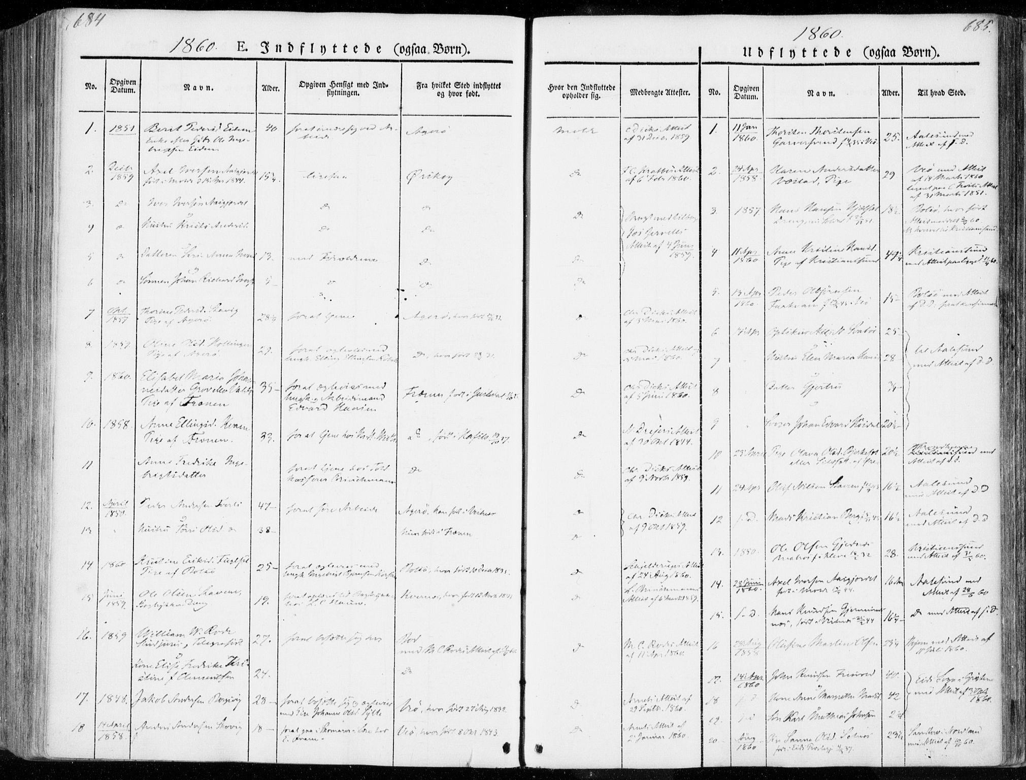 SAT, Ministerialprotokoller, klokkerbøker og fødselsregistre - Møre og Romsdal, 558/L0689: Ministerialbok nr. 558A03, 1843-1872, s. 684-685