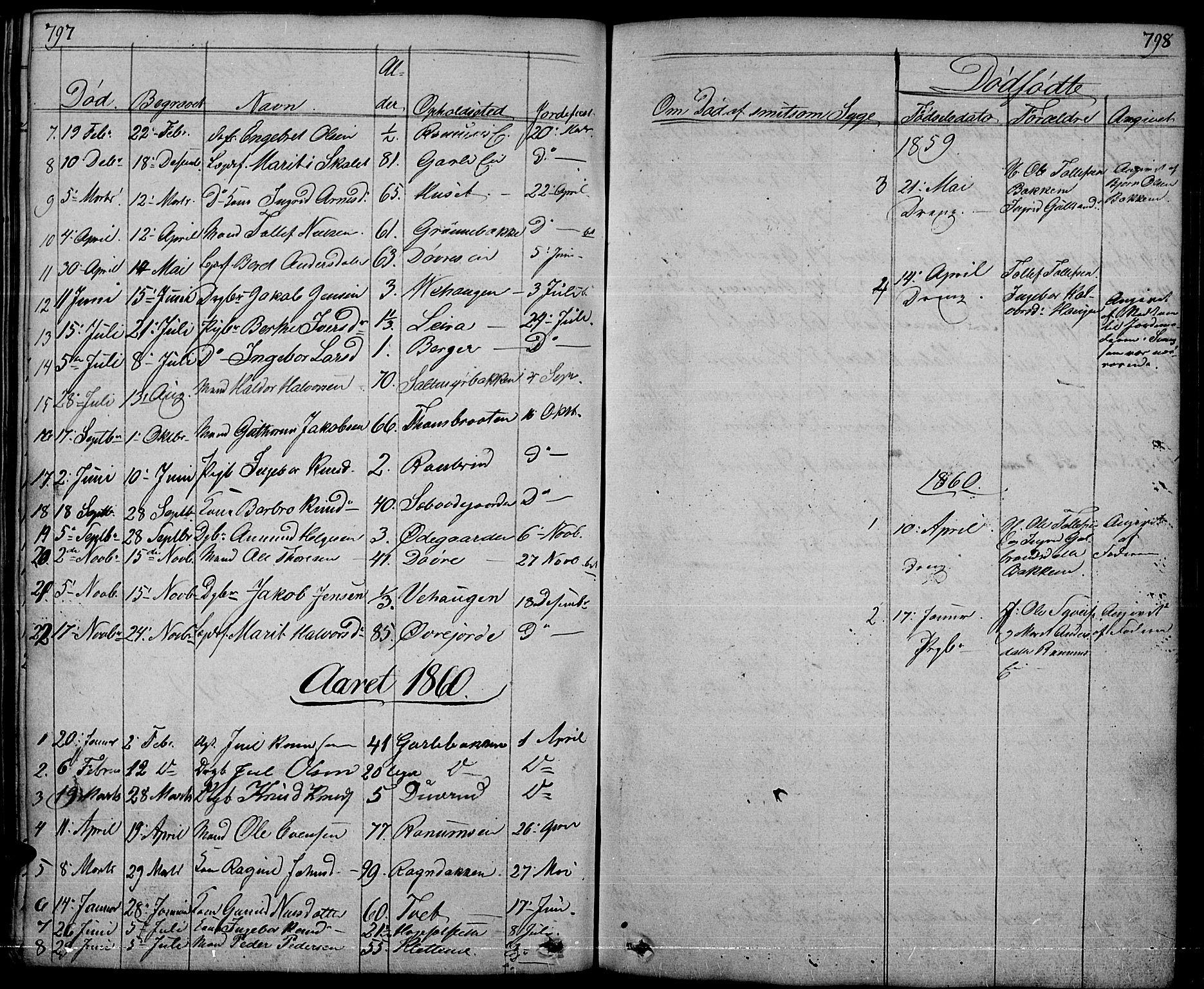 SAH, Nord-Aurdal prestekontor, Klokkerbok nr. 1, 1834-1887, s. 797-798