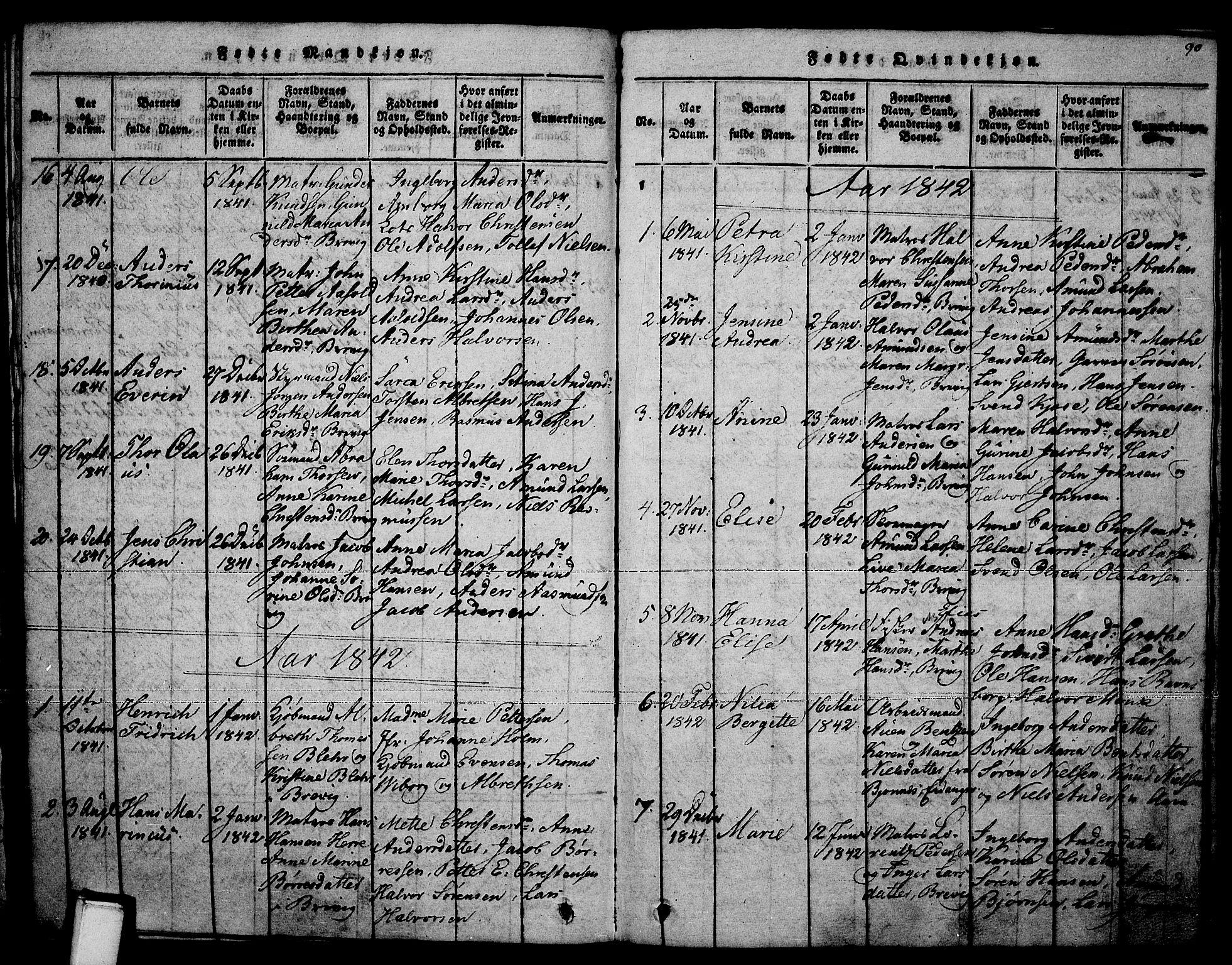 SAKO, Brevik kirkebøker, F/Fa/L0004: Ministerialbok nr. 4, 1814-1846, s. 90