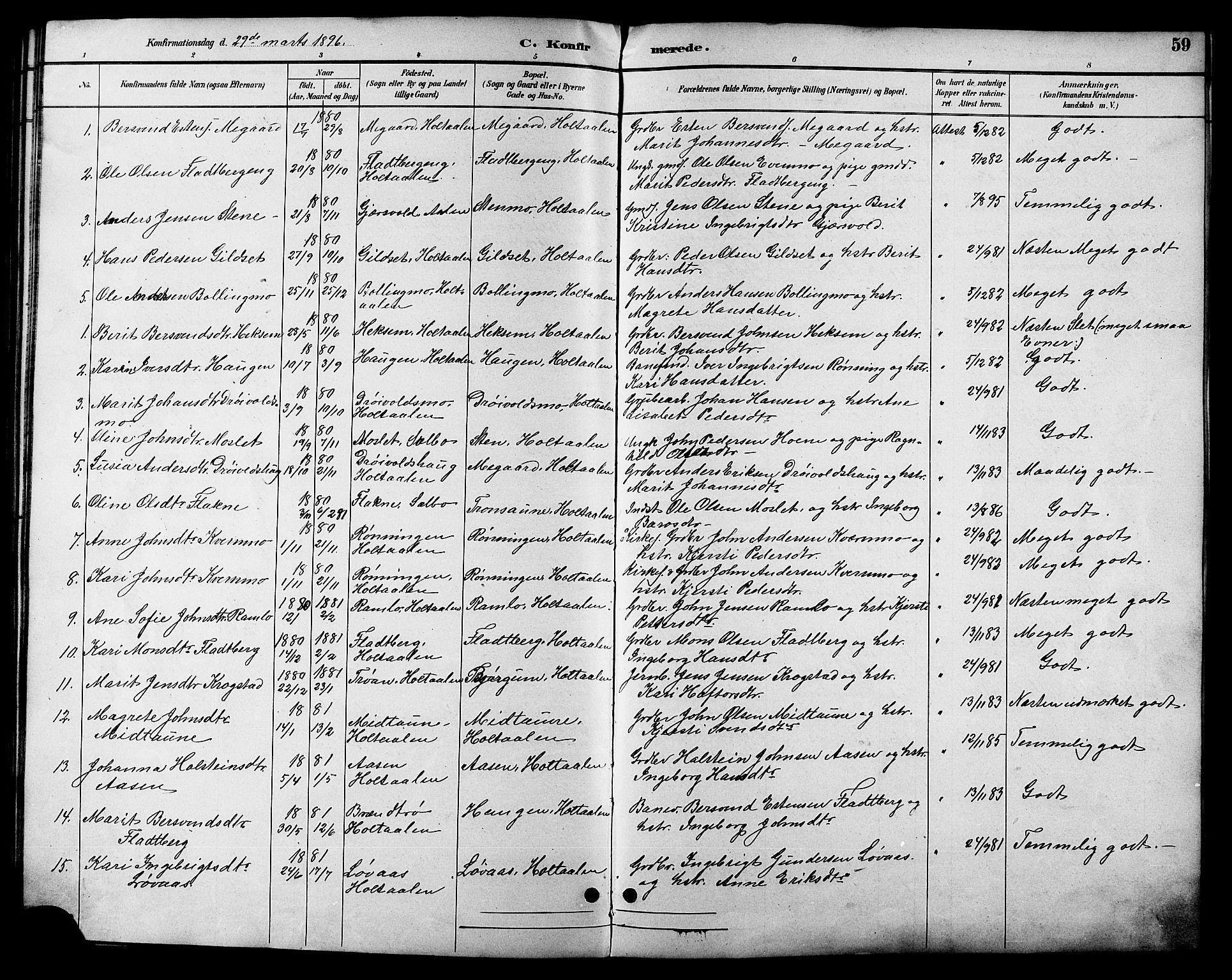 SAT, Ministerialprotokoller, klokkerbøker og fødselsregistre - Sør-Trøndelag, 685/L0978: Klokkerbok nr. 685C03, 1891-1907, s. 59