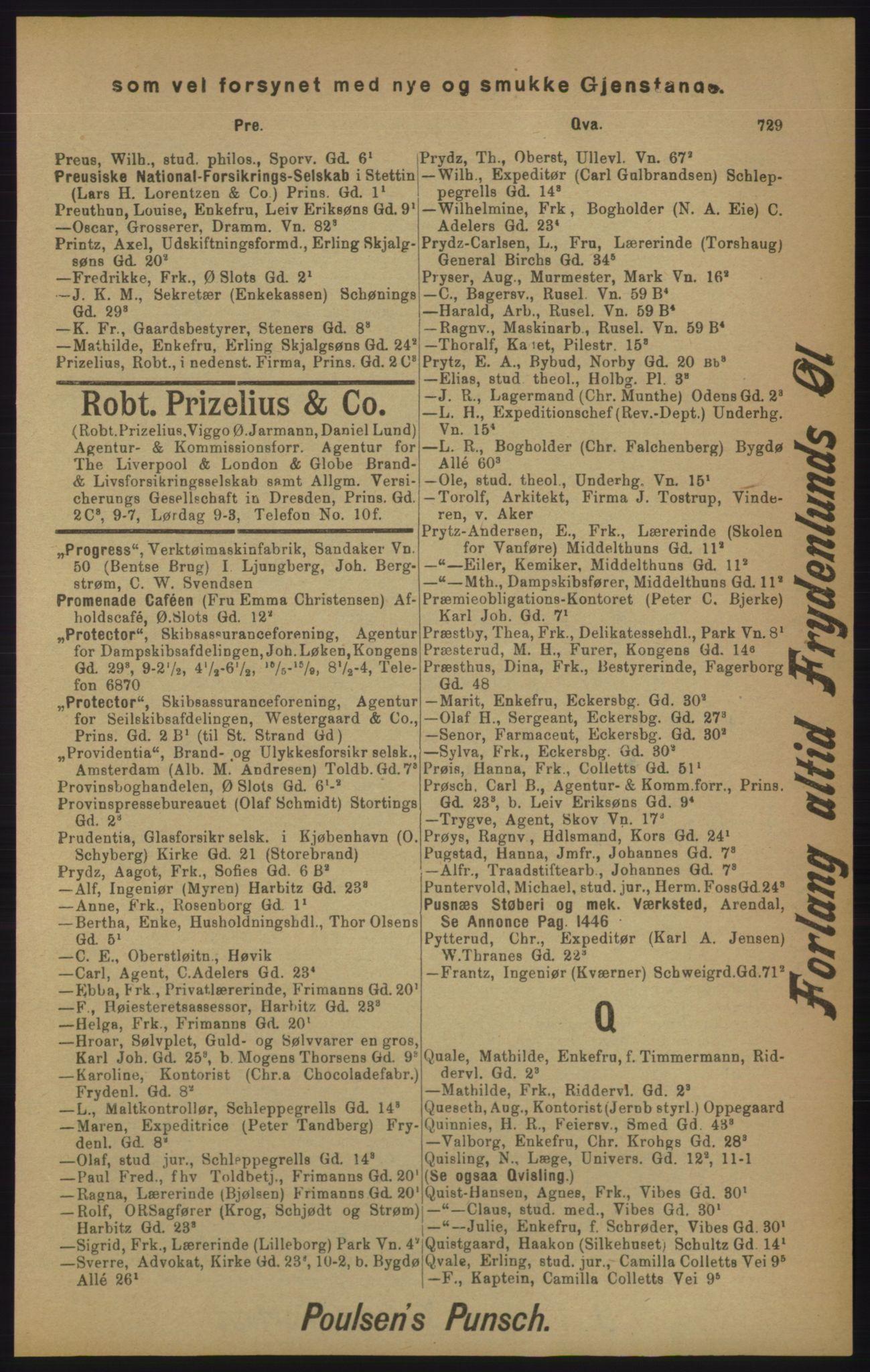 RA, Kristiania adressebok (publikasjon)*, 1905, s. 729