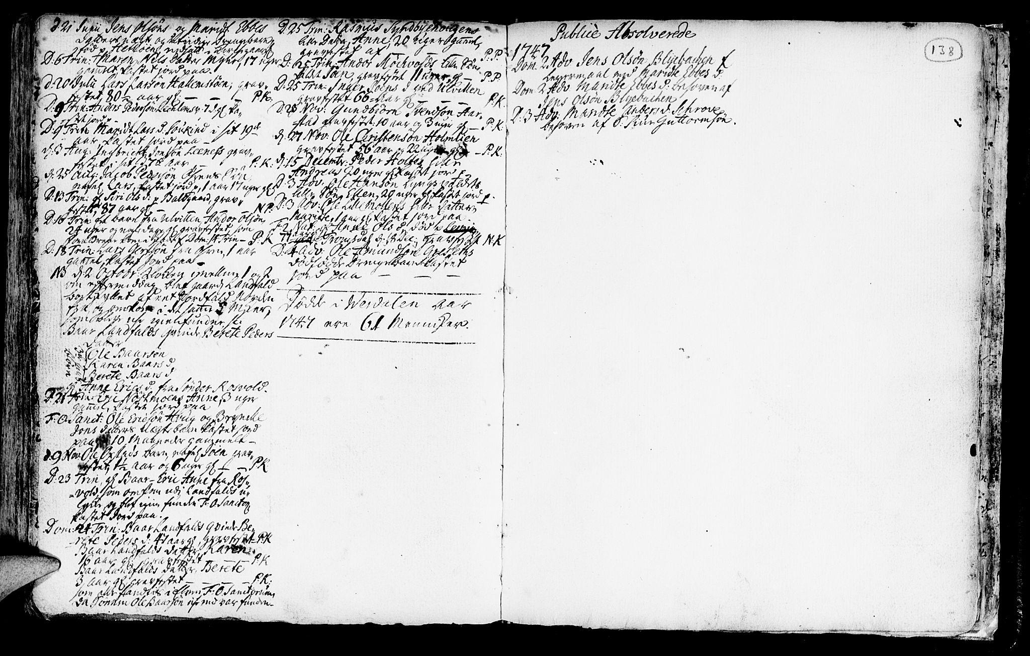 SAT, Ministerialprotokoller, klokkerbøker og fødselsregistre - Nord-Trøndelag, 723/L0230: Ministerialbok nr. 723A01, 1705-1747, s. 138