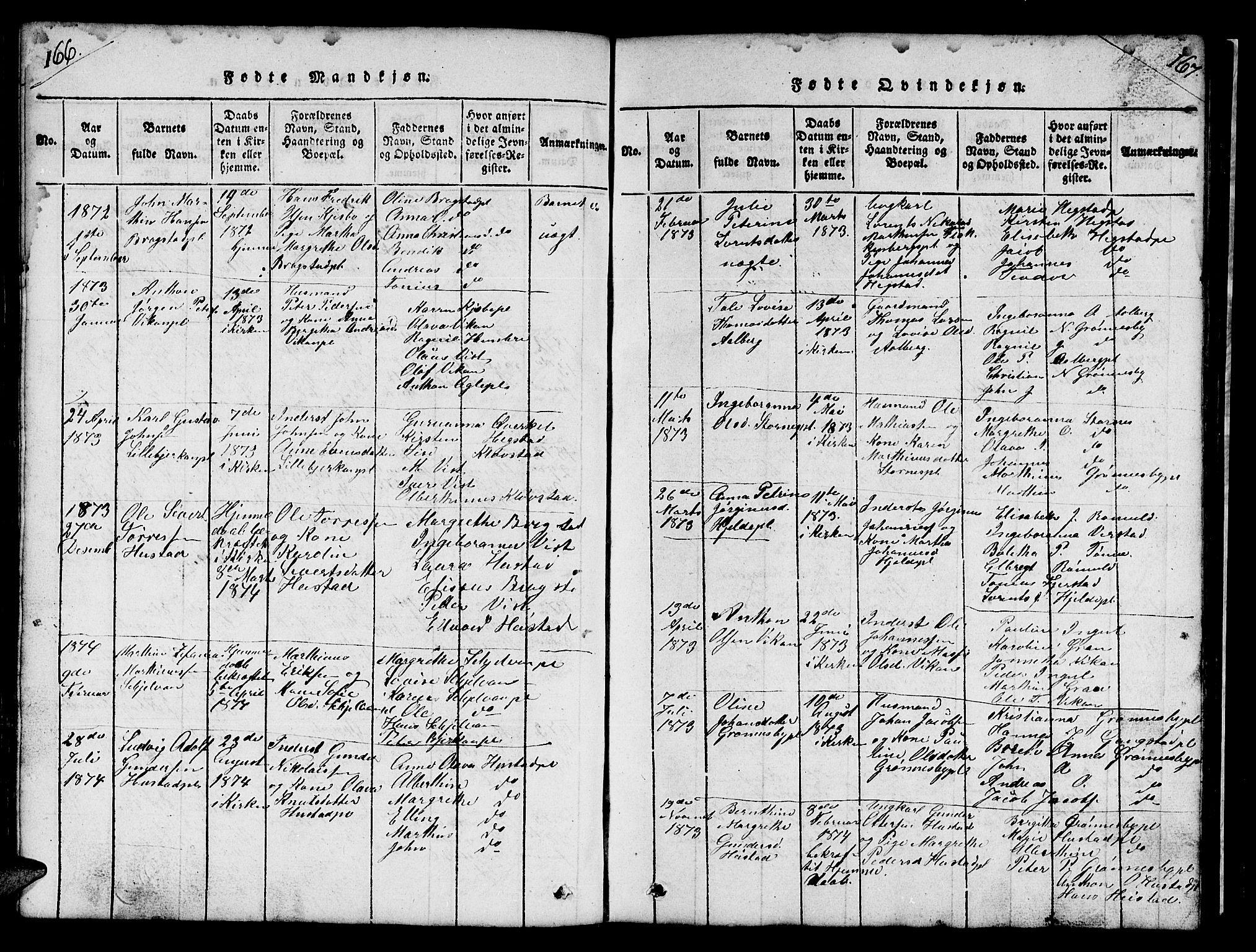 SAT, Ministerialprotokoller, klokkerbøker og fødselsregistre - Nord-Trøndelag, 732/L0317: Klokkerbok nr. 732C01, 1816-1881, s. 166-167