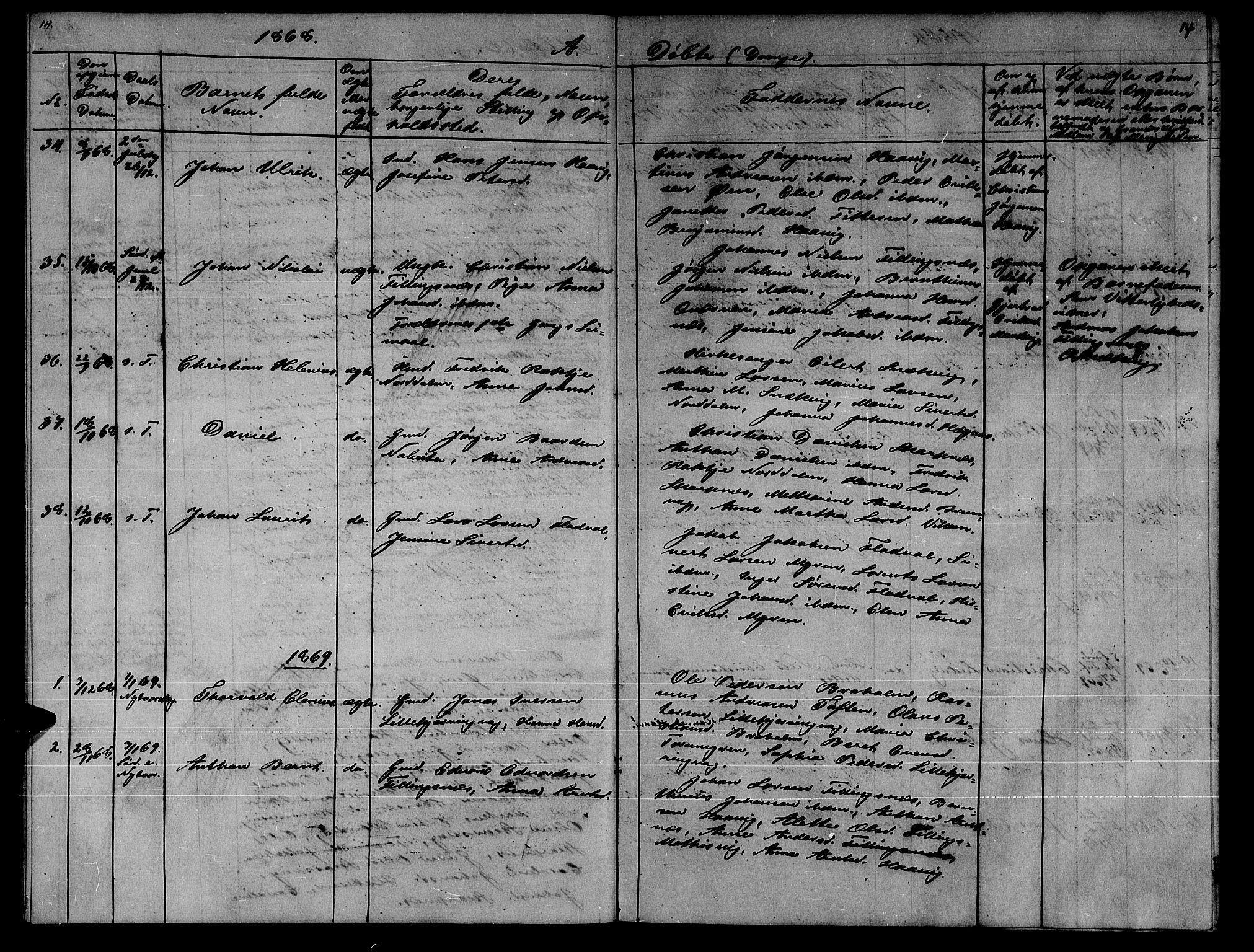 SAT, Ministerialprotokoller, klokkerbøker og fødselsregistre - Sør-Trøndelag, 634/L0539: Klokkerbok nr. 634C01, 1866-1873, s. 14