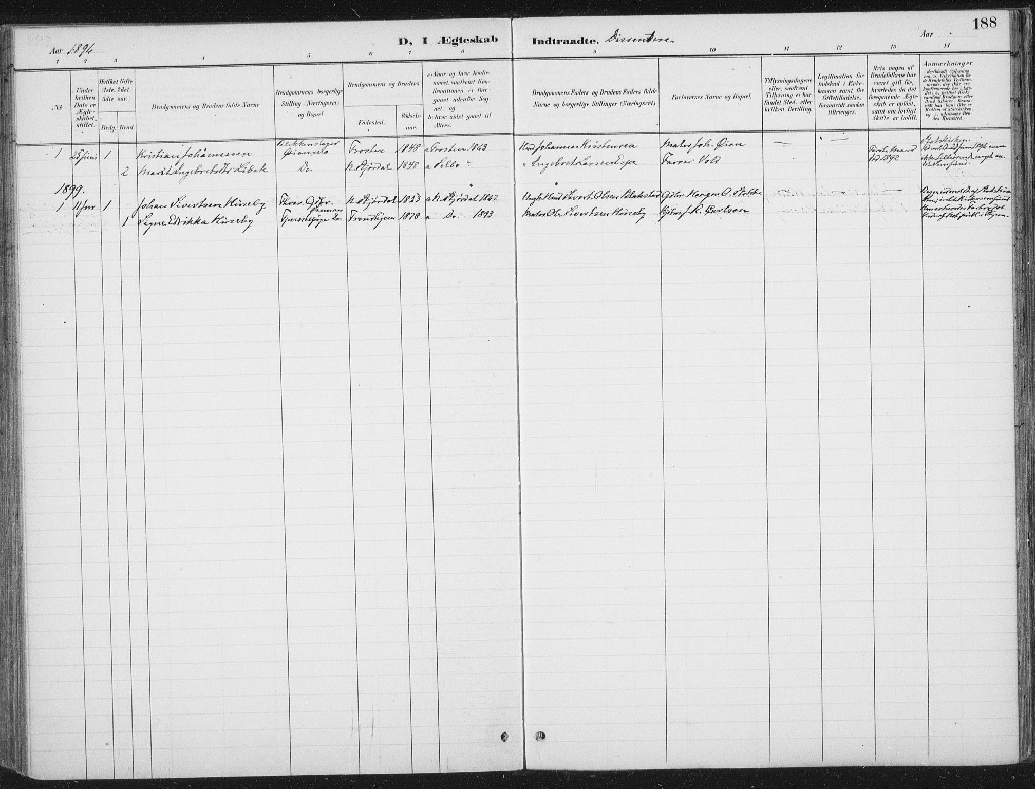 SAT, Ministerialprotokoller, klokkerbøker og fødselsregistre - Nord-Trøndelag, 709/L0082: Ministerialbok nr. 709A22, 1896-1916, s. 188
