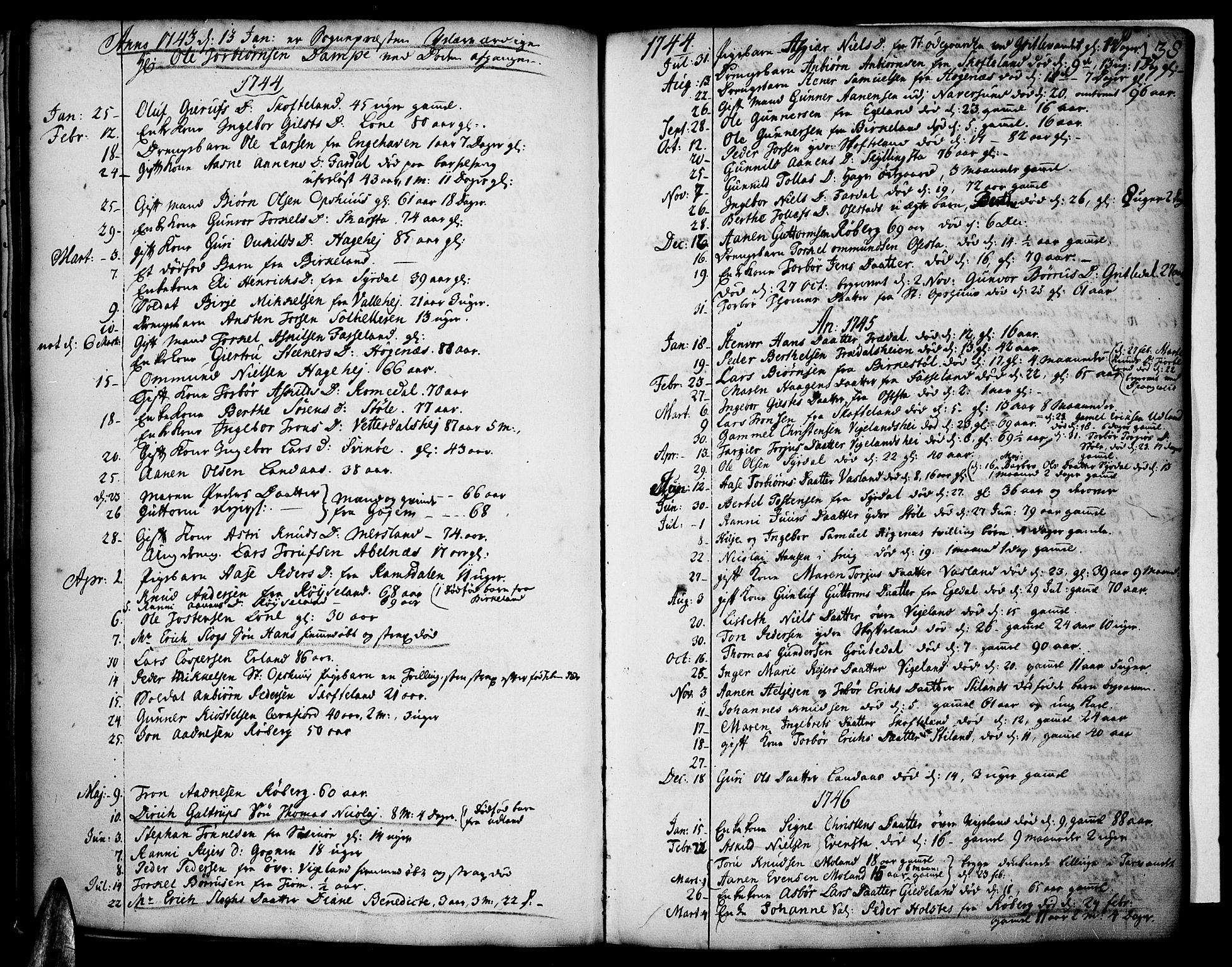 SAK, Sør-Audnedal sokneprestkontor, F/Fa/Fab/L0001: Ministerialbok nr. A 1 /1, 1726-1766, s. 138