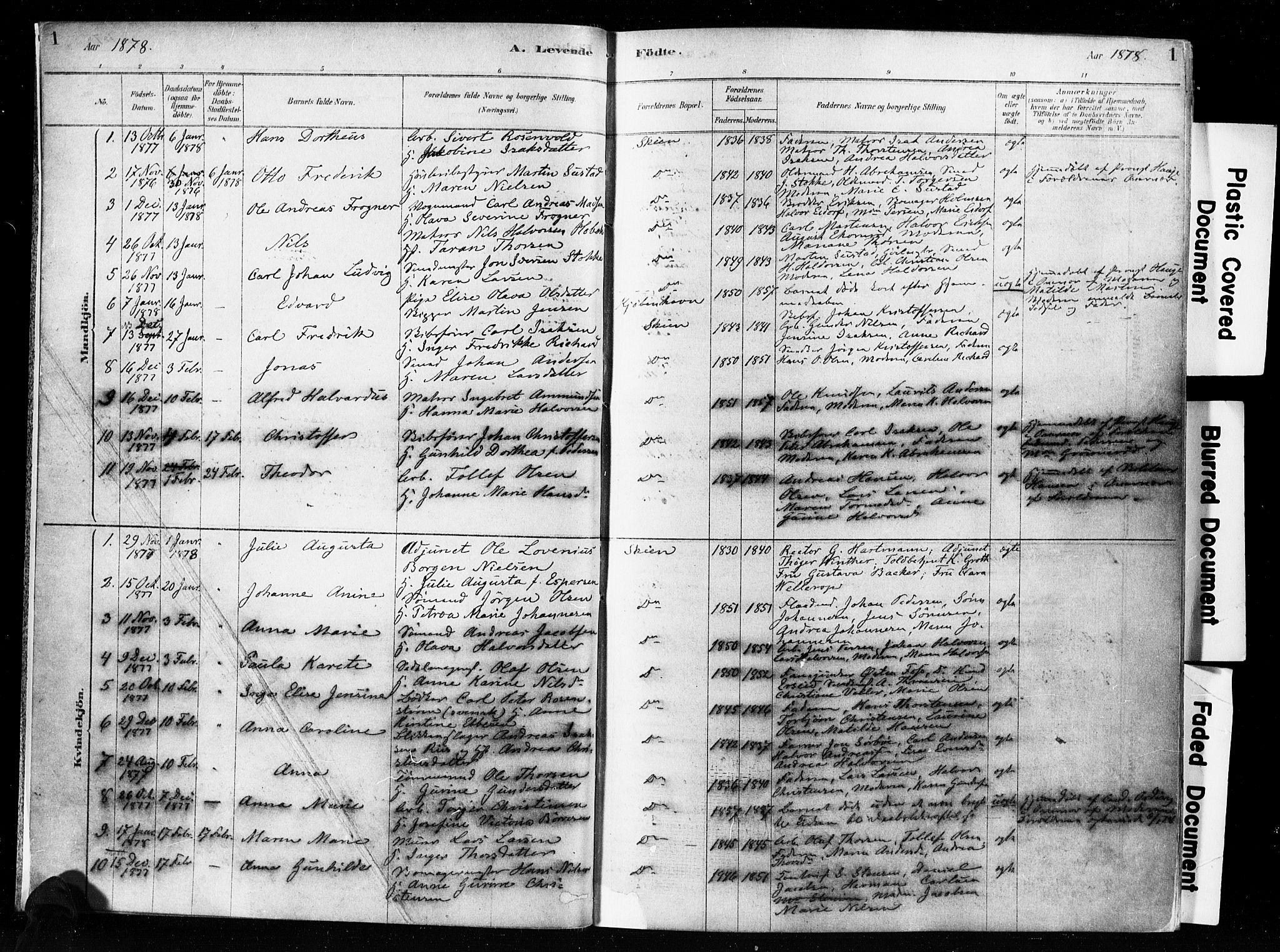 SAKO, Skien kirkebøker, F/Fa/L0009: Ministerialbok nr. 9, 1878-1890, s. 1