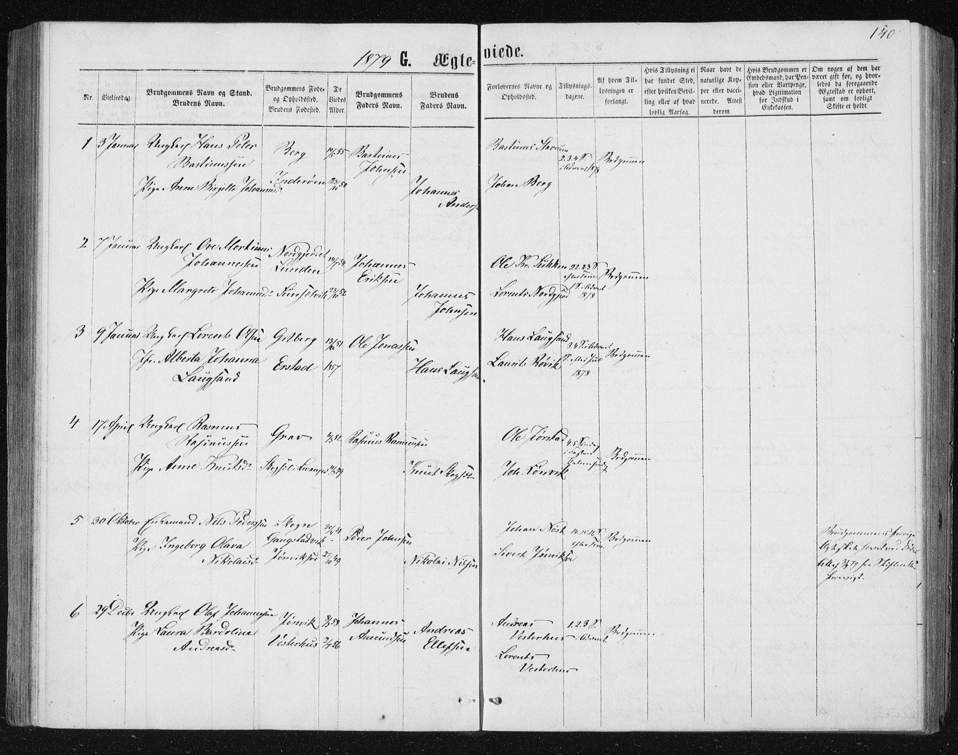 SAT, Ministerialprotokoller, klokkerbøker og fødselsregistre - Nord-Trøndelag, 722/L0219: Ministerialbok nr. 722A06, 1868-1880, s. 140